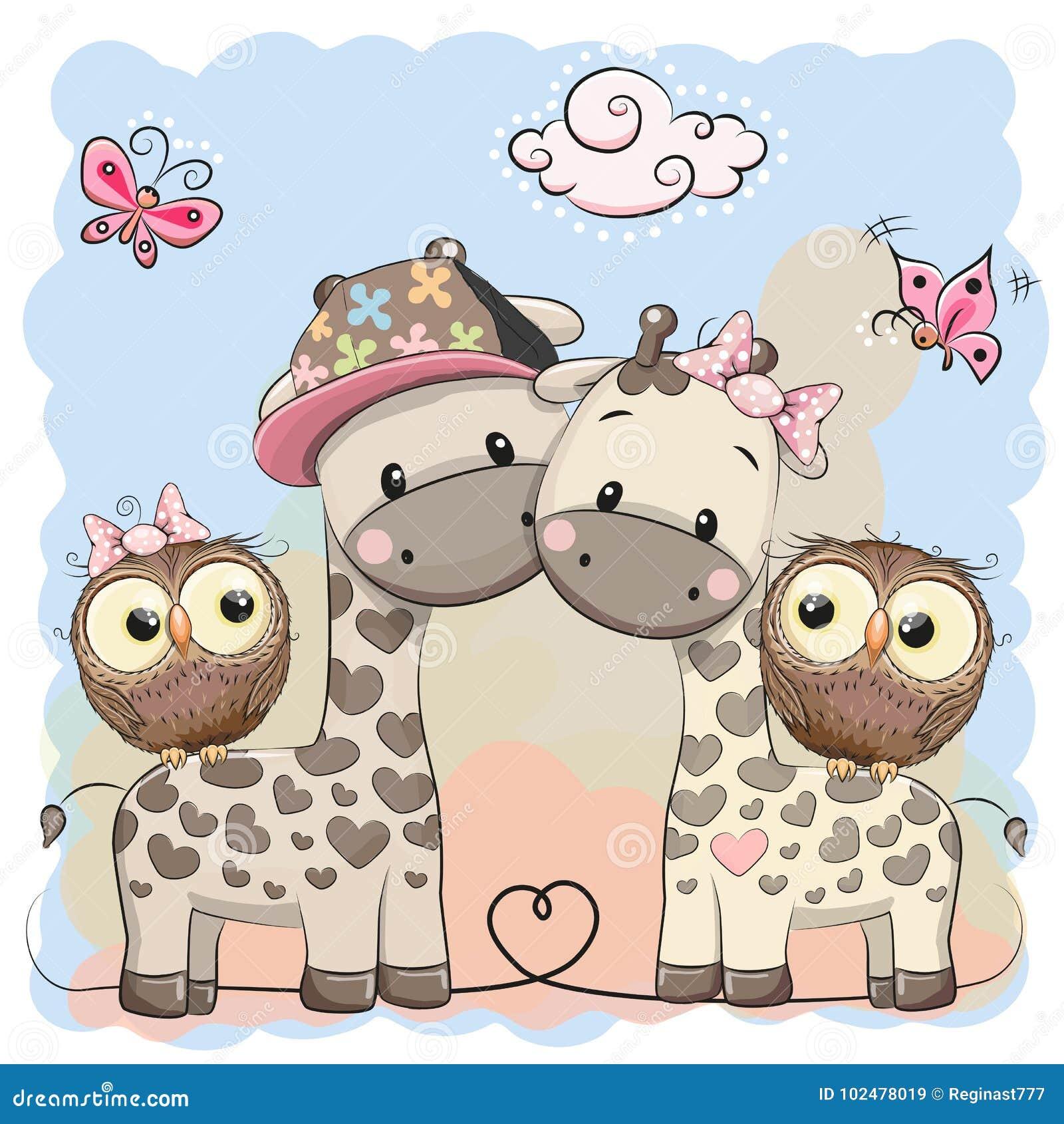 2 милых жирафы и сыча