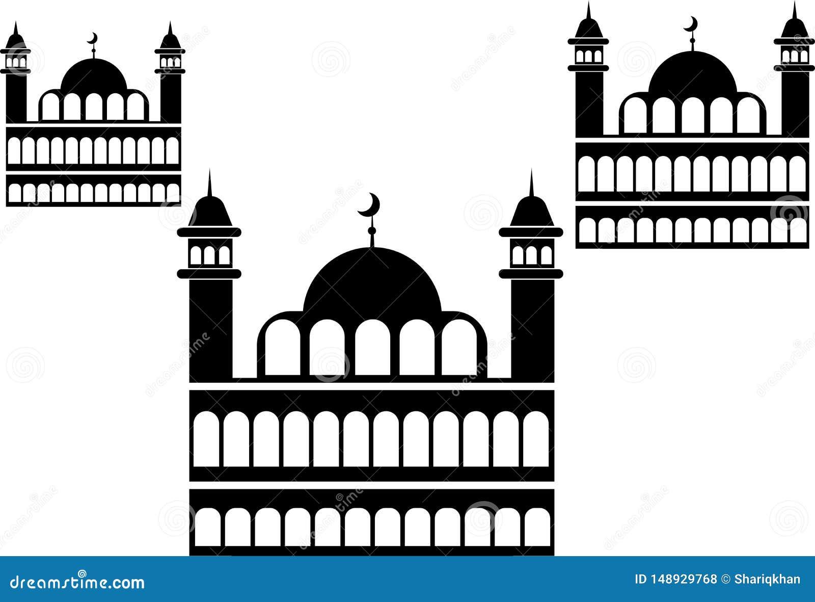 Минарет мечети и луна полумесяца
