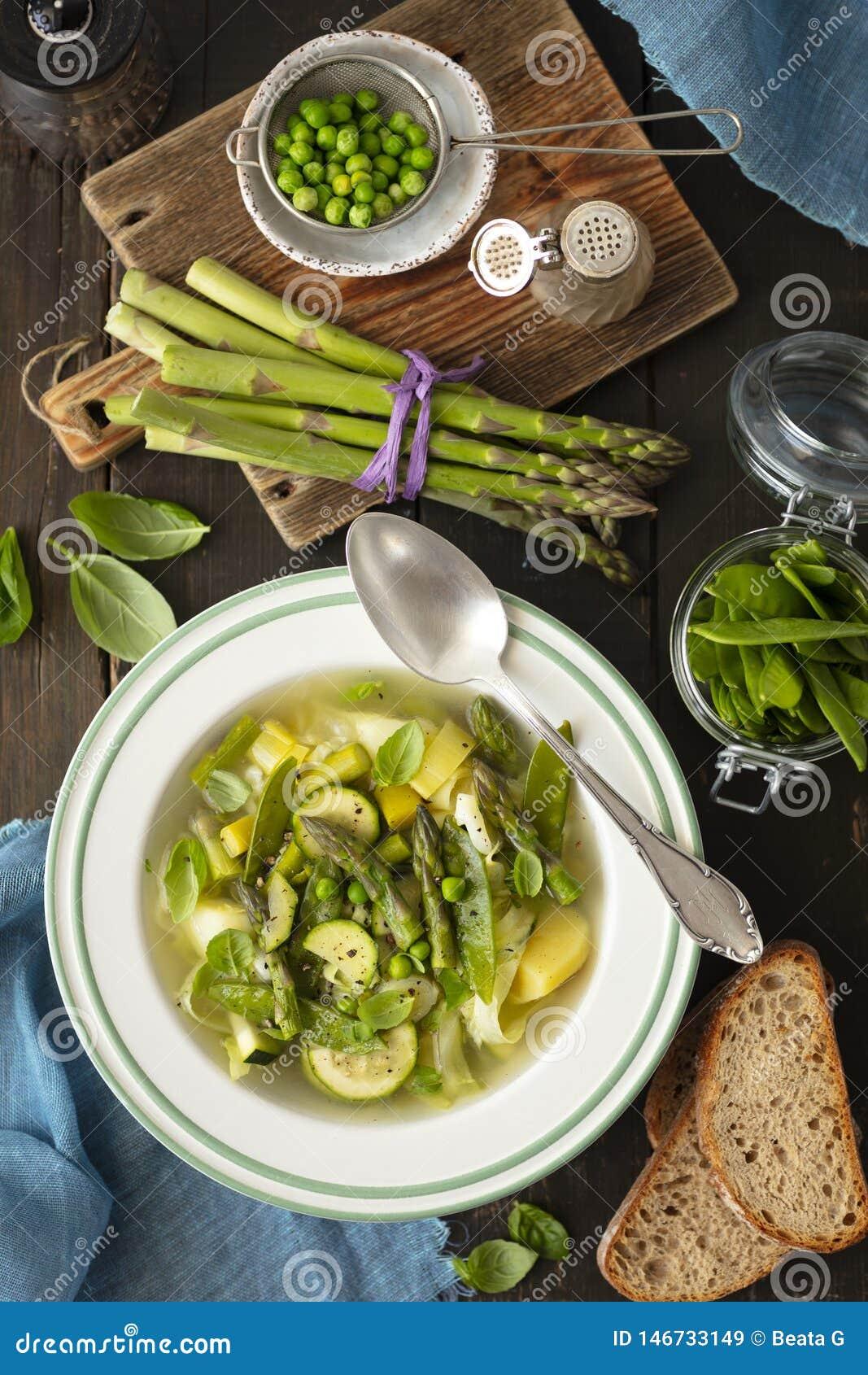 Минестроне - итальянский овощной суп со спаржей