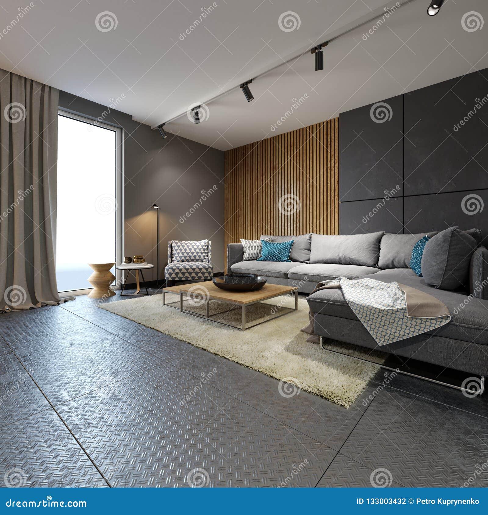 Минималистская современная живущая комната с софами в стиле просторной квартиры плоско