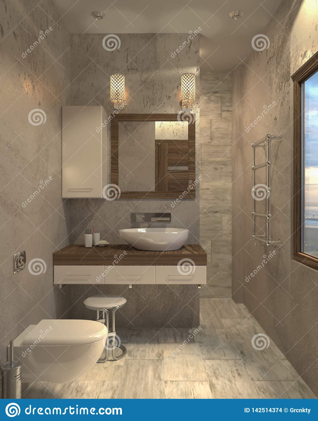 Минималистский современный bathroom bathroom 3d внутренний