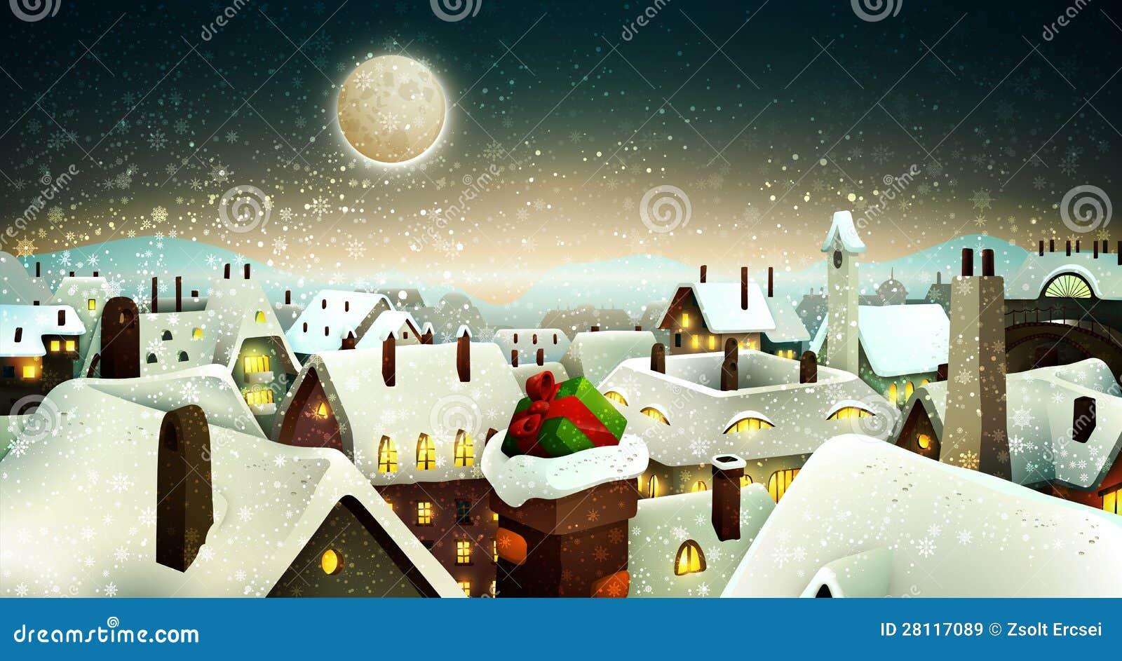 Мирный городок под лунным светом на Рожденственской ночи