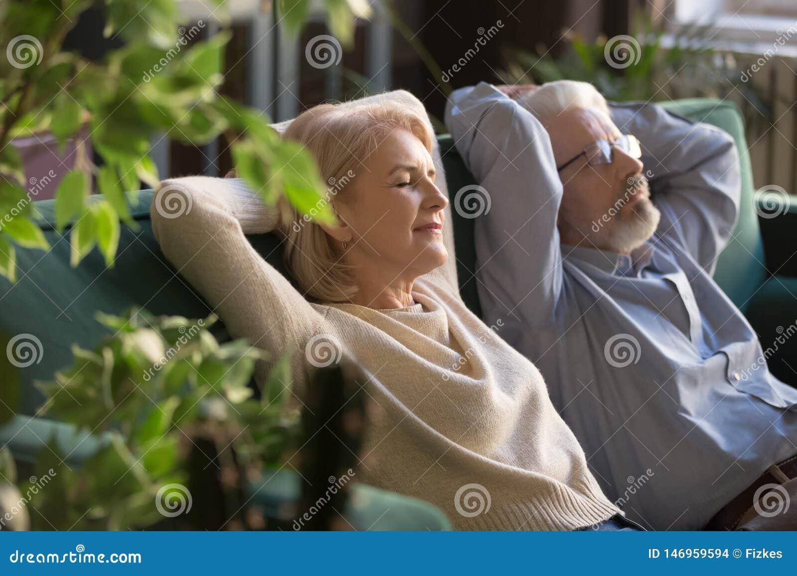 Мирный средние достигшие возраста человек и женщина ослабляя на удобном кресле