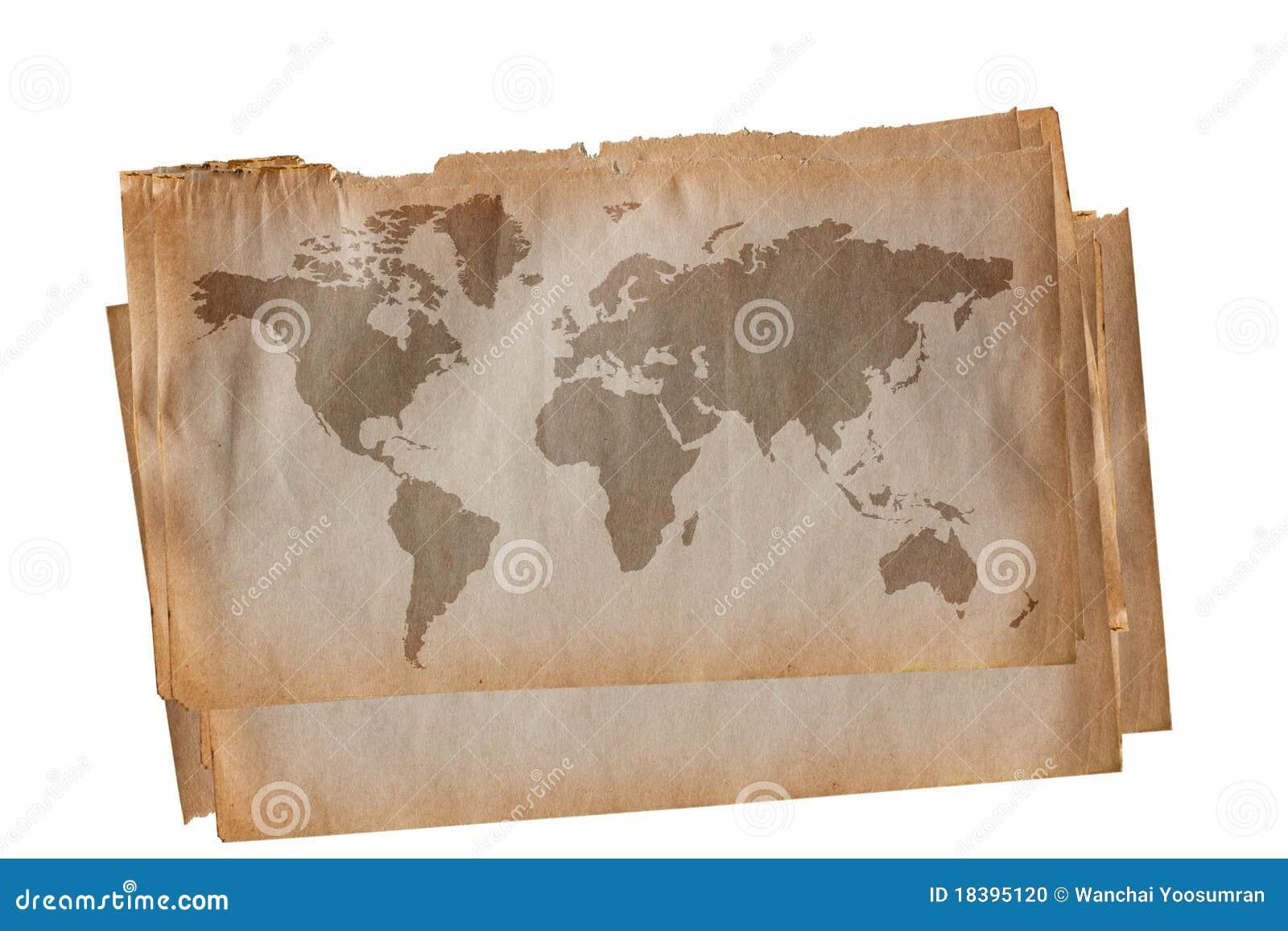 мир карты старый бумажный