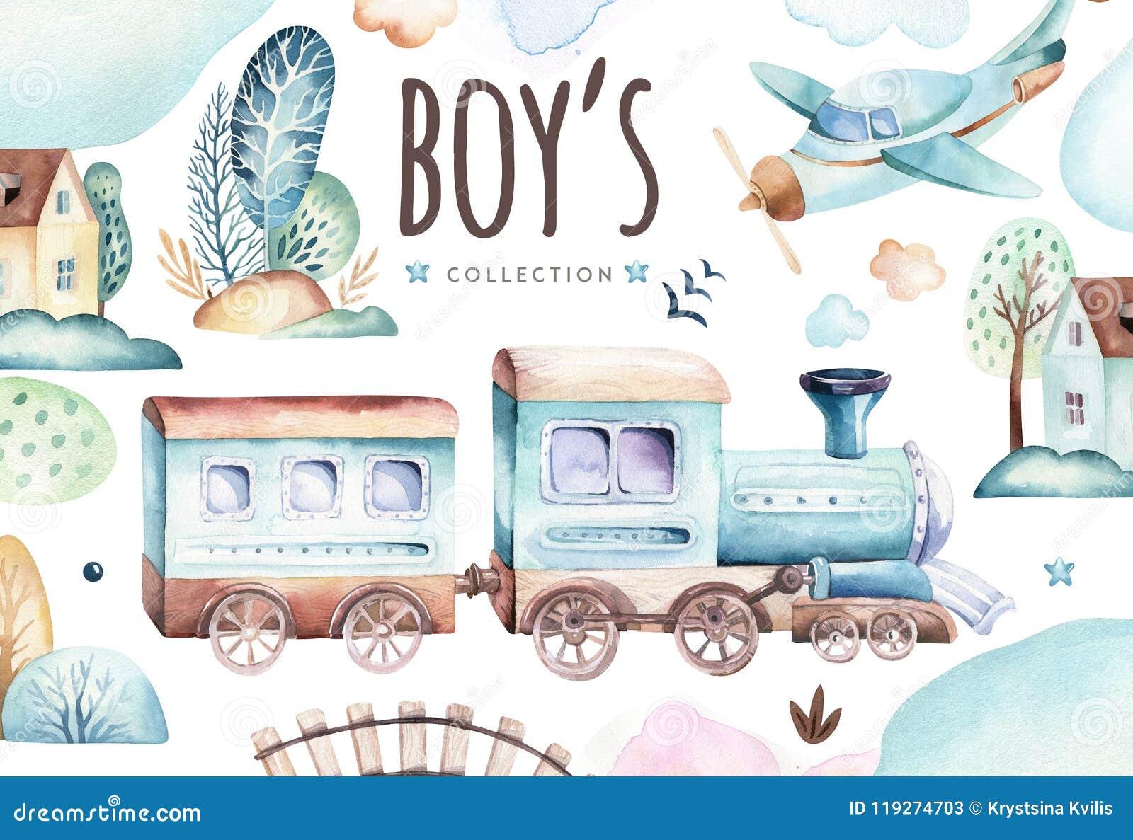 Мир ребёнков Иллюстрация акварели самолета и фуры шаржа локомотивная Комплект дня рождения ребенка самолета, и воздуха