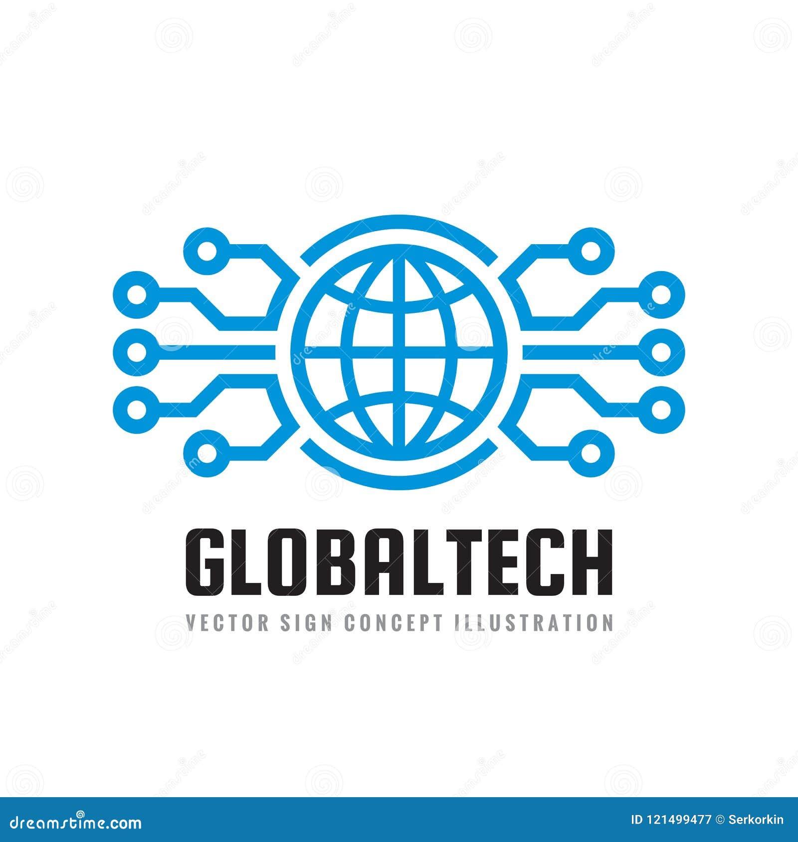 Мир цифров - vector иллюстрация концепции шаблона логотипа дела Знак глобуса абстрактный и электронная сеть гловальная технология