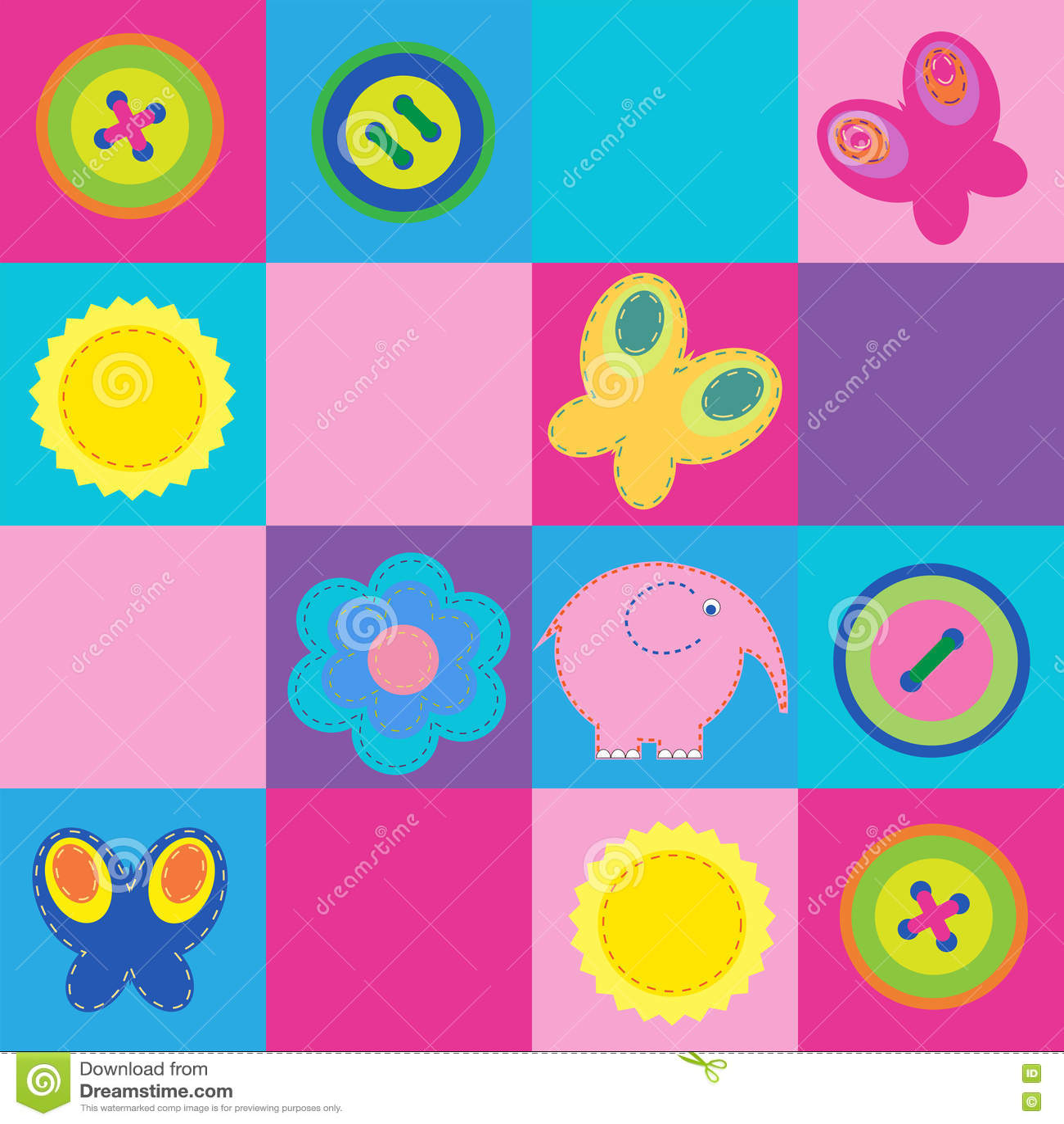 Милая безшовная картина с элементами дизайна для детей