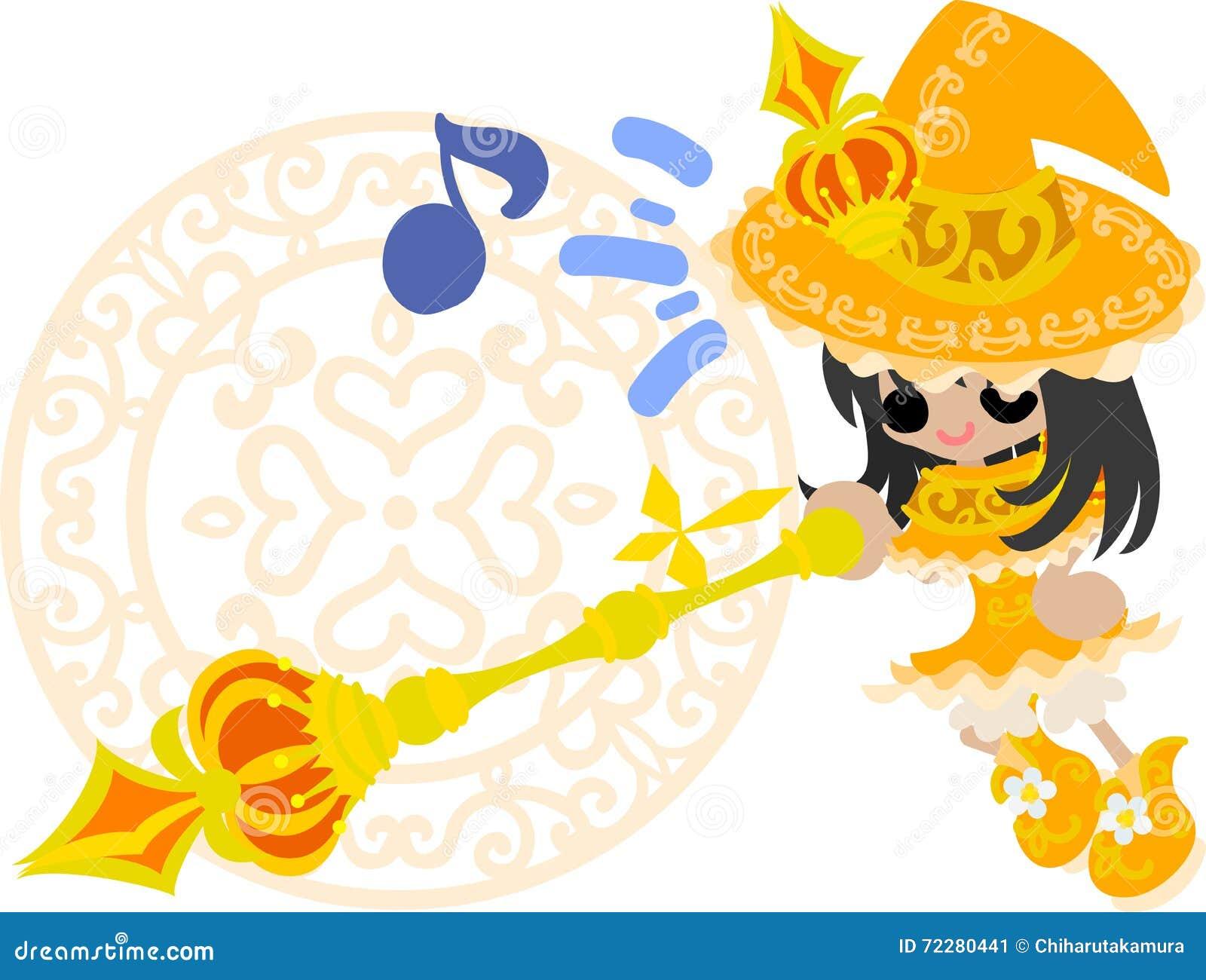 Download Милая ведьма иллюстрация вектора. иллюстрации насчитывающей немного - 72280441