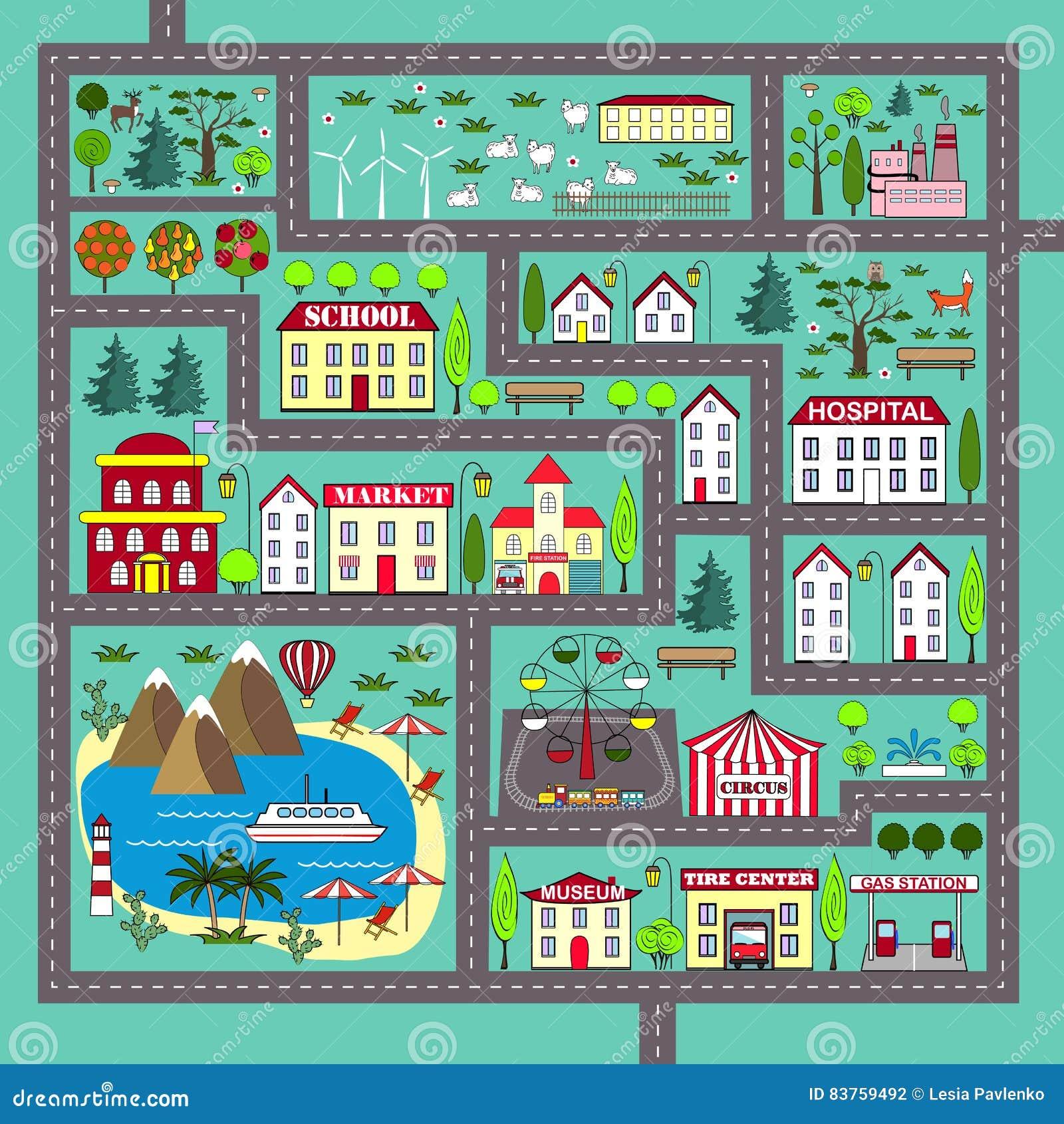 Милая квадратная циновка игры дороги для детей деятельности и развлечений