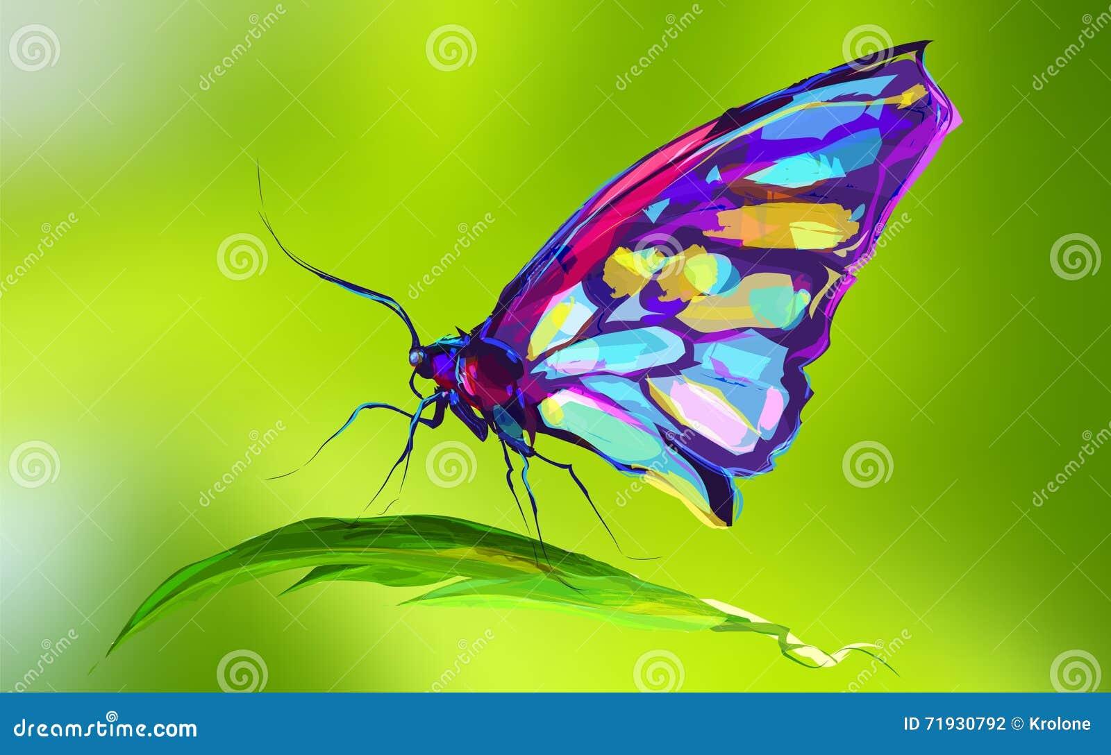Милая покрашенная бабочка на траве