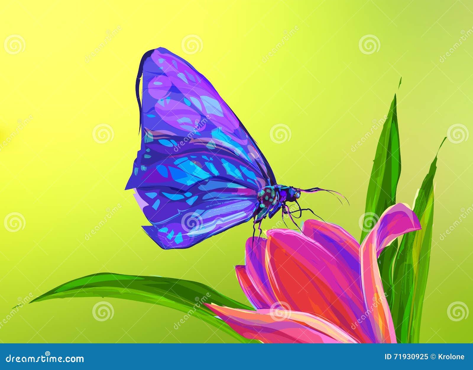 Милая покрашенная бабочка на цветке