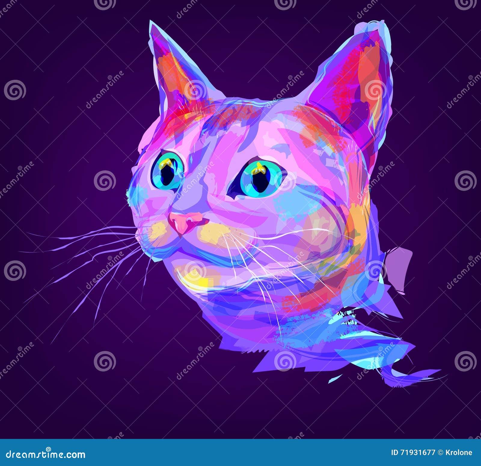 Милая покрашенная голова кота