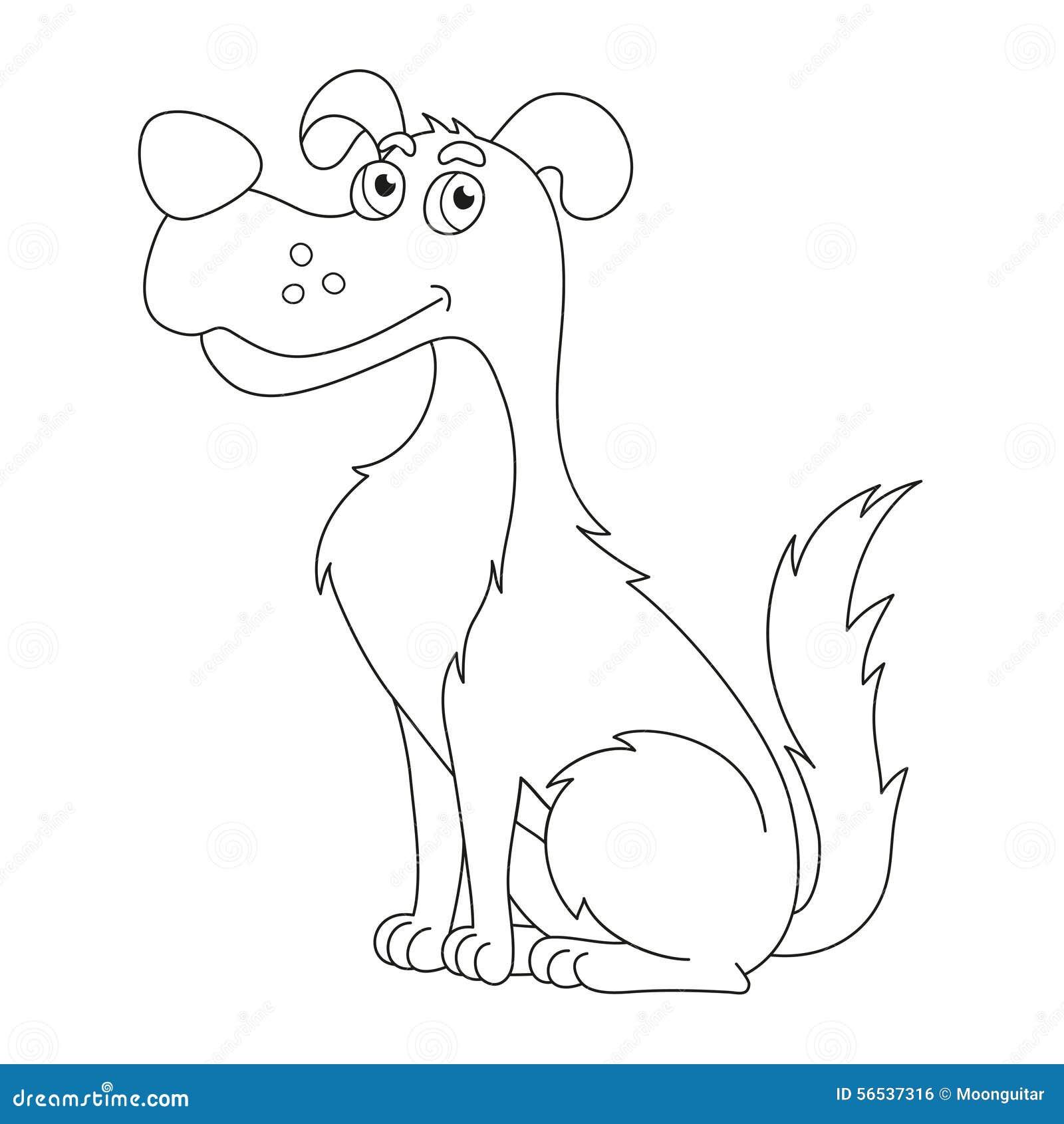 милая лукавая собака страница книжка раскраски для детей