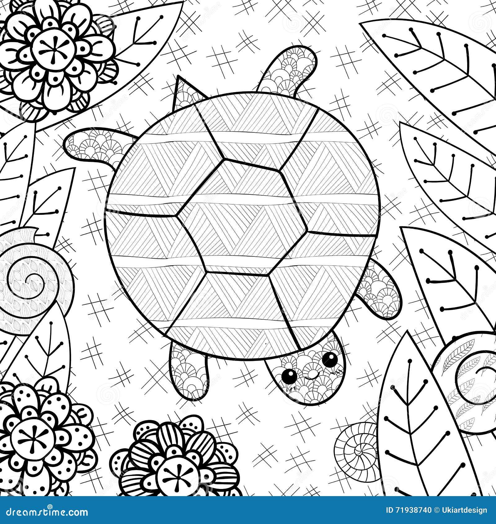 Милая черепаха в странице книжка-раскраски сада взрослой