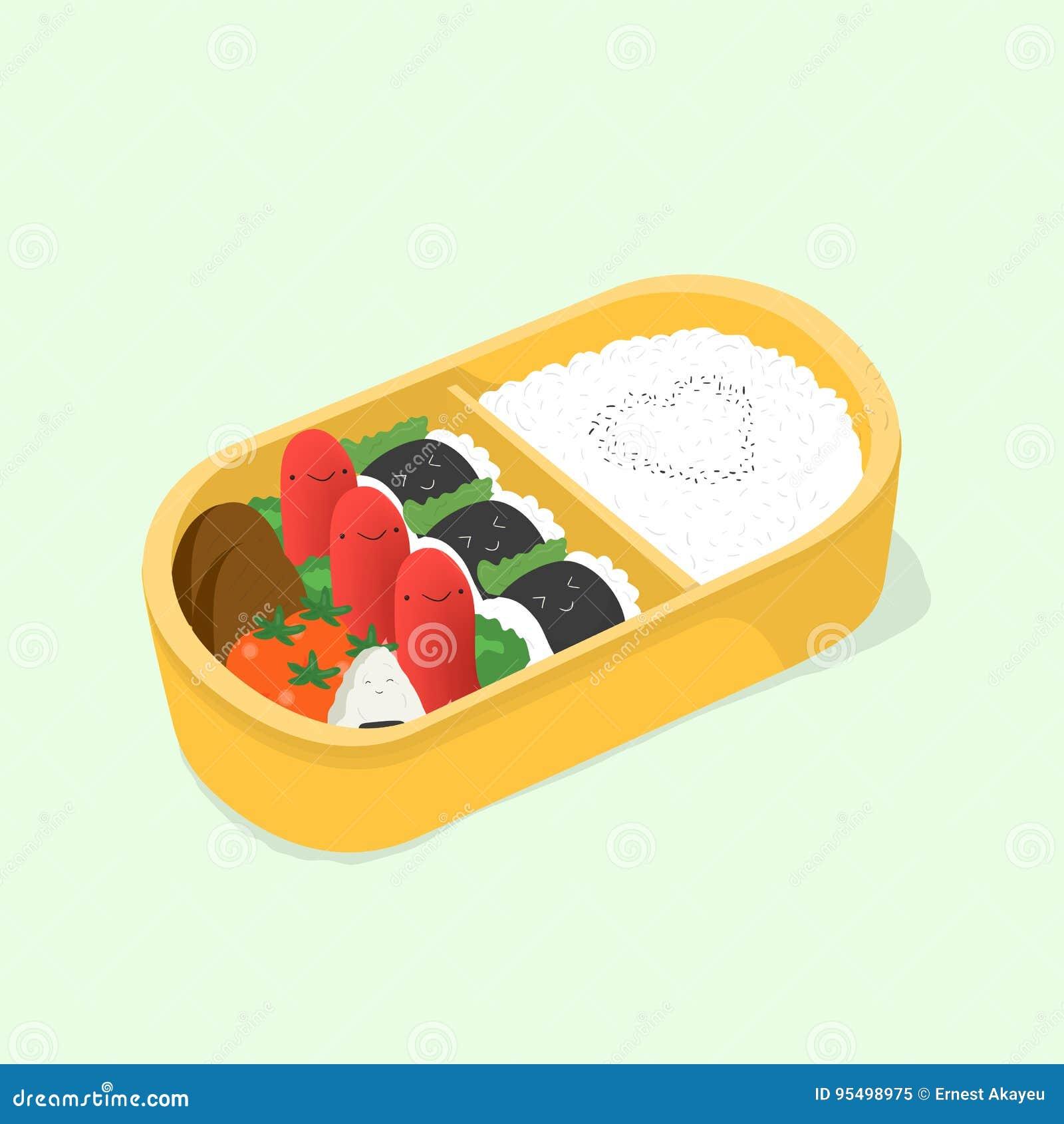 Милое бенто положите японский обед в коробку Смешная еда шаржа Равновеликая красочная иллюстрация вектора