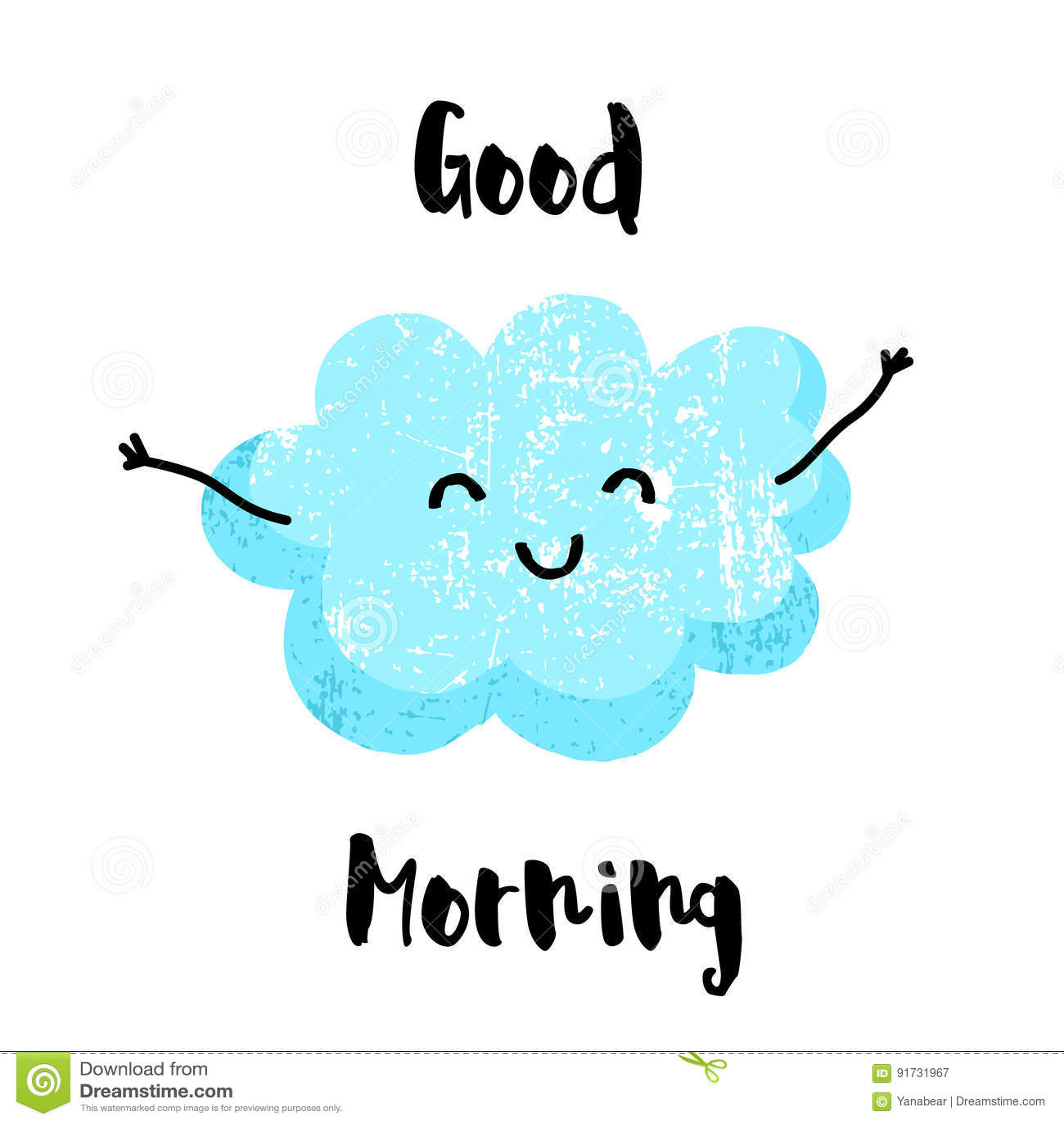 Милое облако с усмехаться рук доброе утро карточки Плоский стиль также вектор иллюстрации притяжки corel