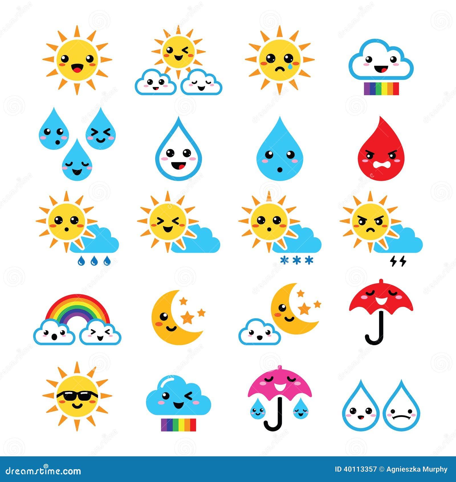 Милое солнце, радуга, луна, дождь и облако - Kawaii ...
