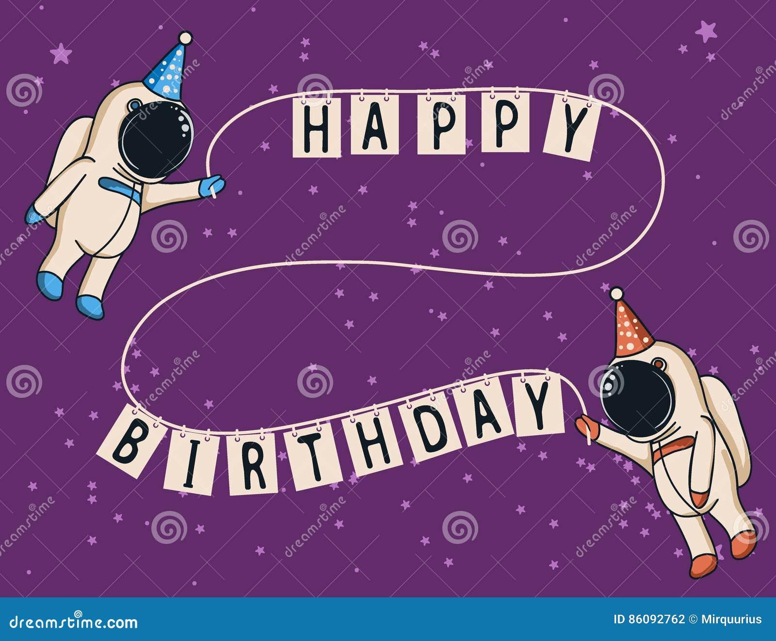 Милые астронавты празднуют с днем рождения
