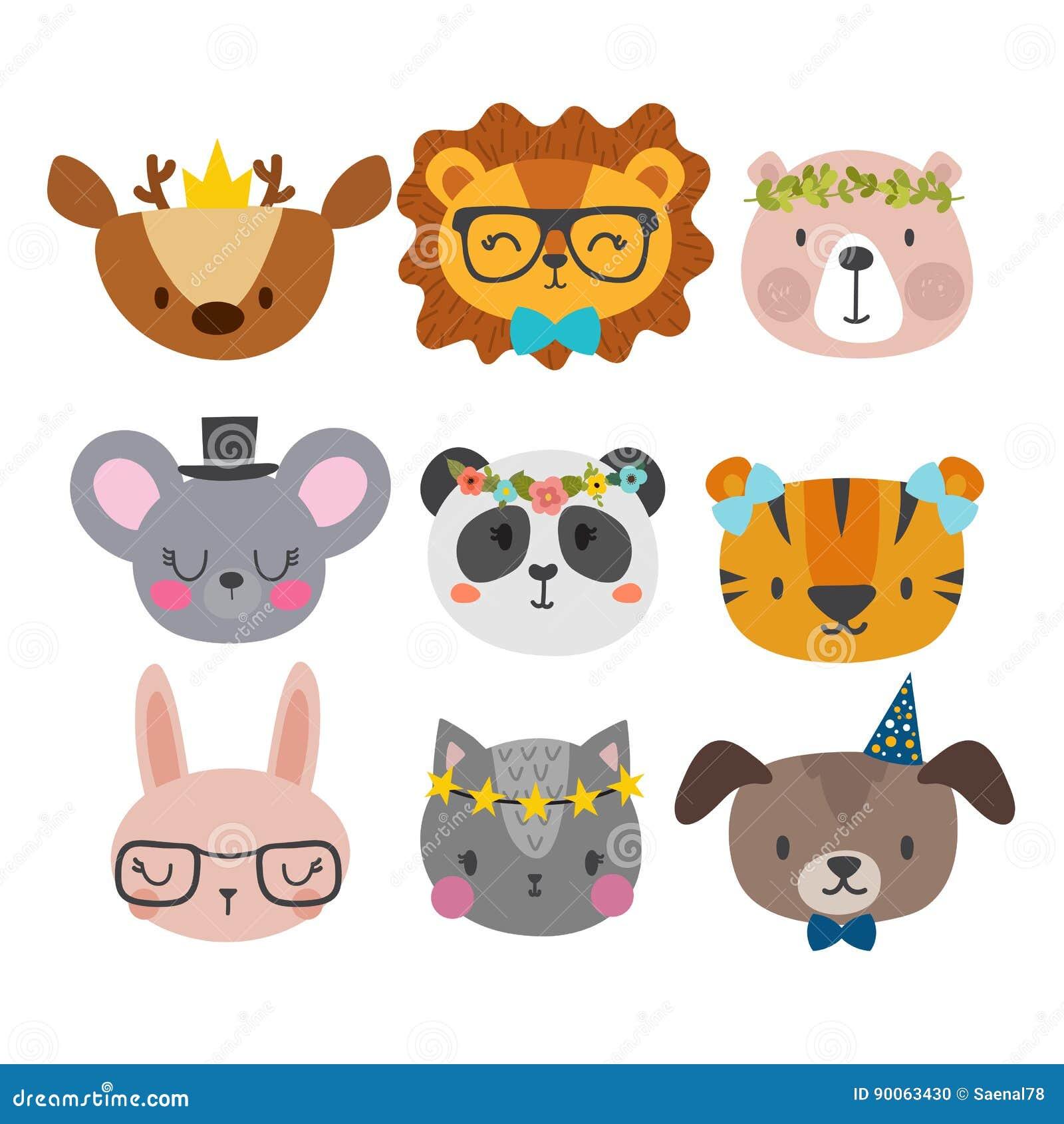 Милые животные с смешными аксессуарами Кот, лев, панда, собака, тигр, олени, зайчик, мышь и медведь Зоопарк шаржа Комплект smi на
