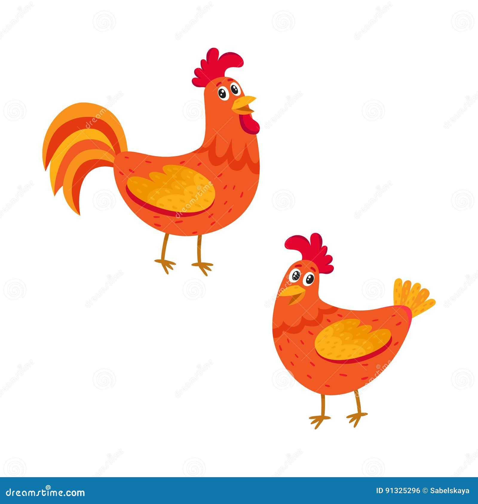 Милые, смешные пары петуха фермы и курица, цыпленок 2