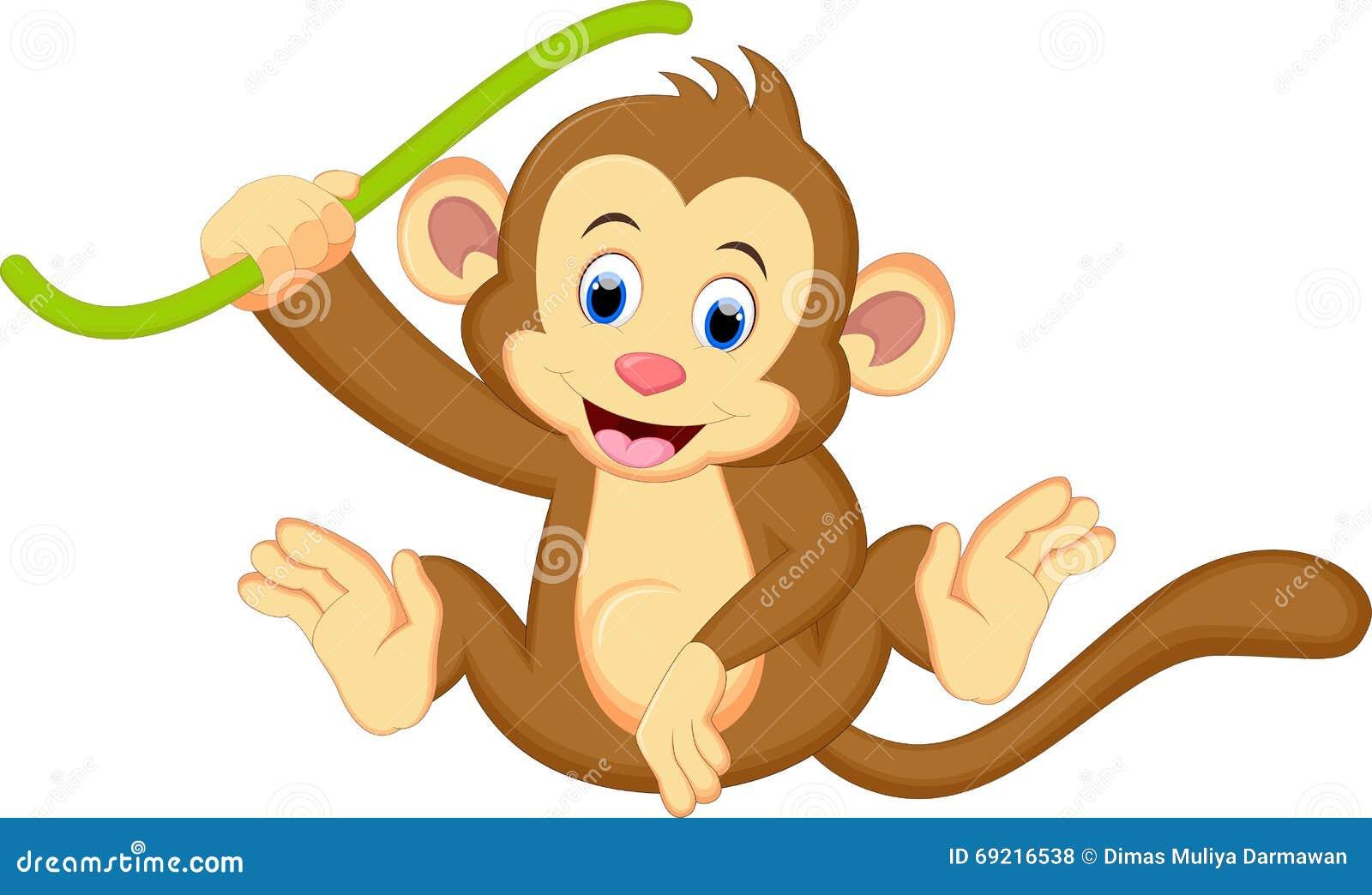 Милый висеть шаржа обезьяны