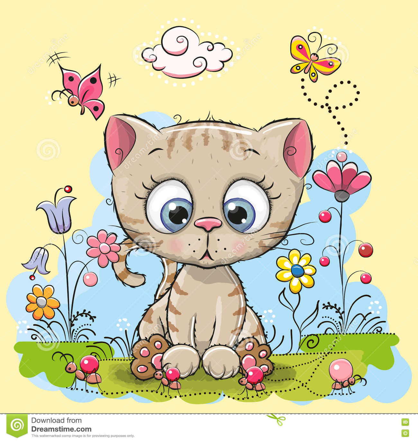 Милый котенок шаржа
