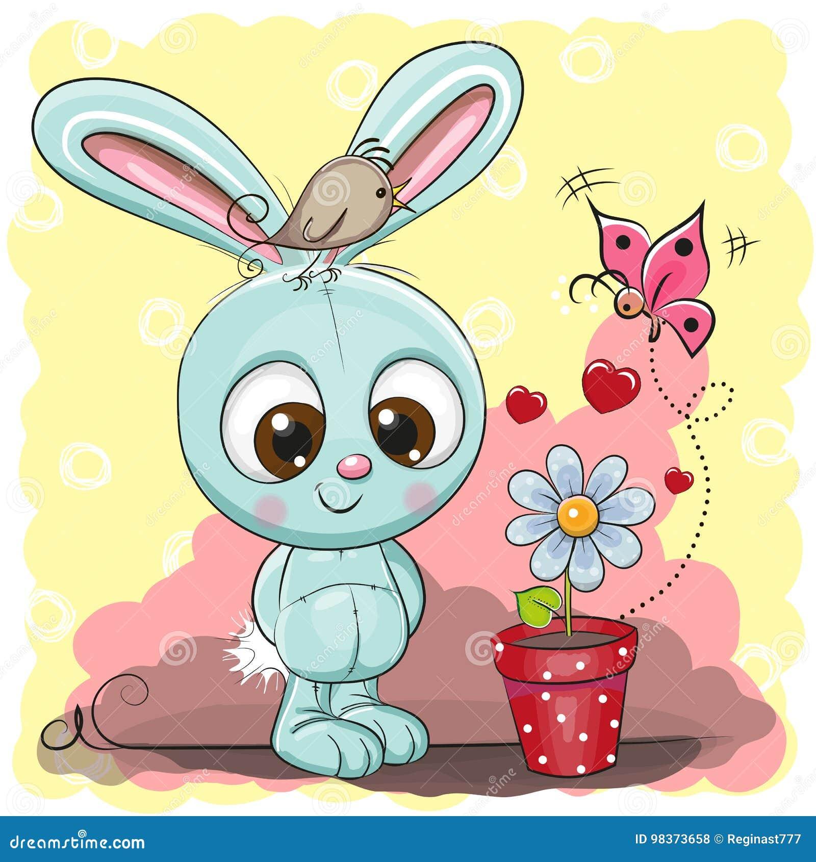Милый кролик шаржа с цветком