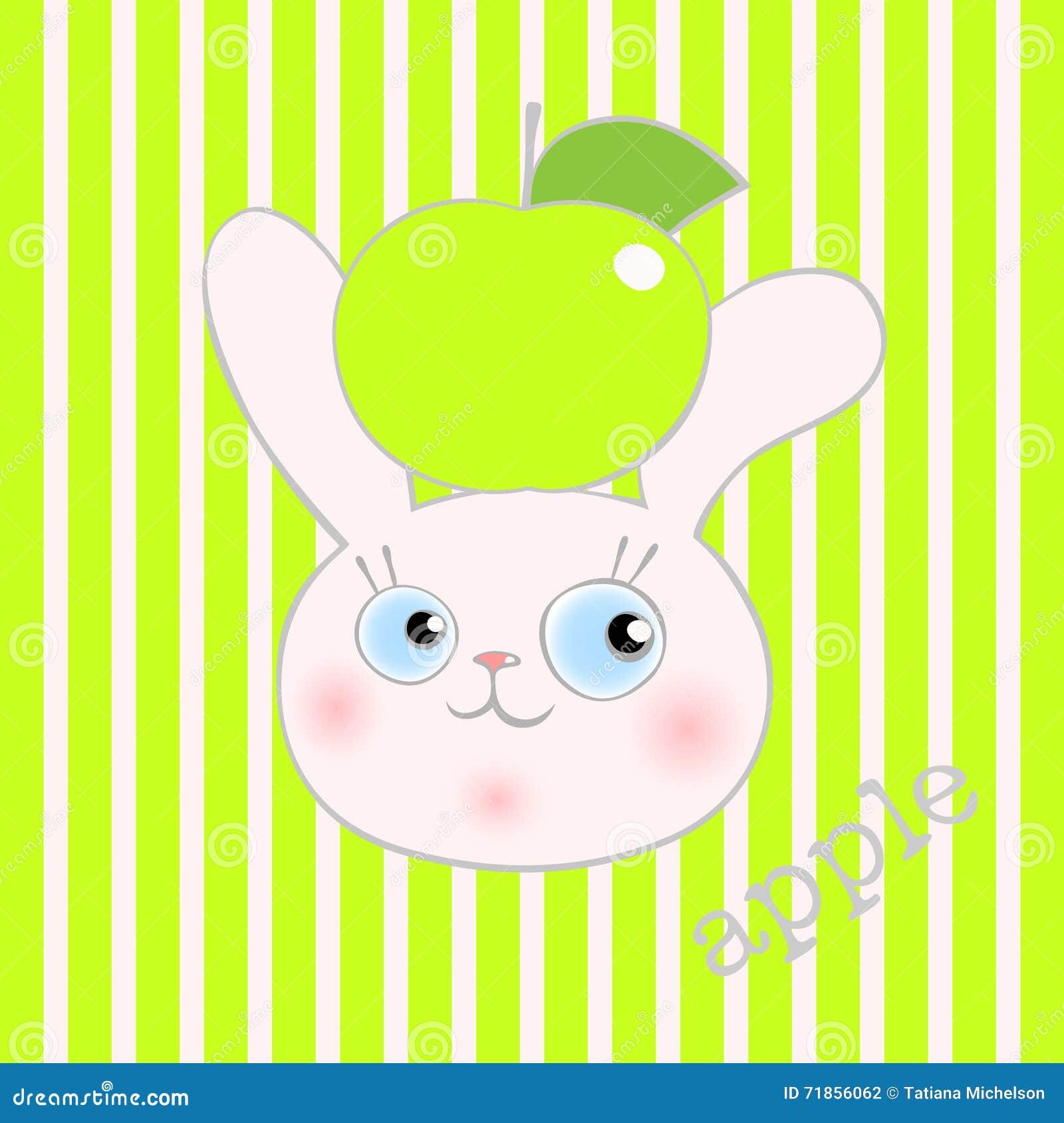 Милый кролик smiley с зеленым яблоком