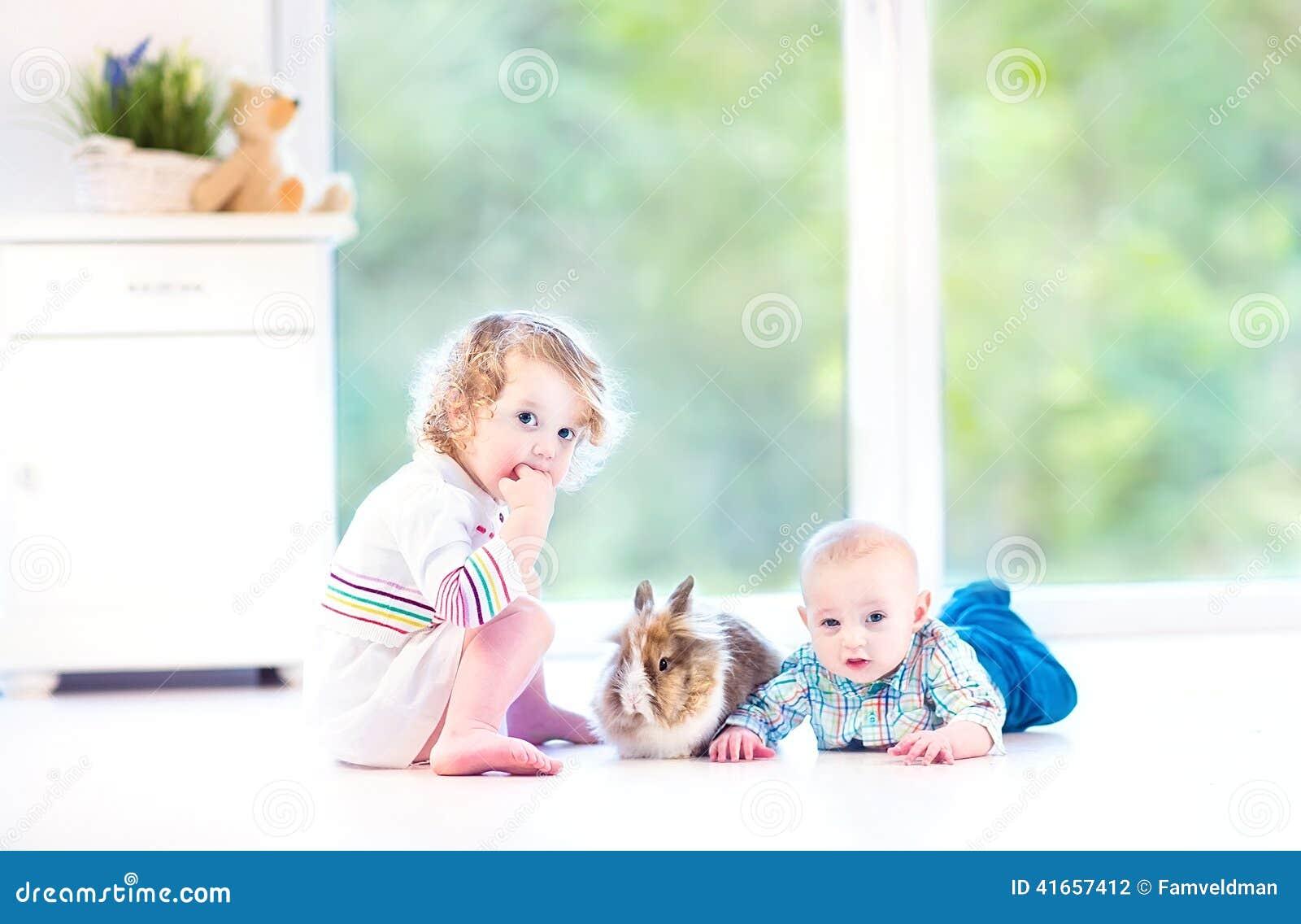 Милый маленький младенец и его сестра малыша с реальным зайчиком