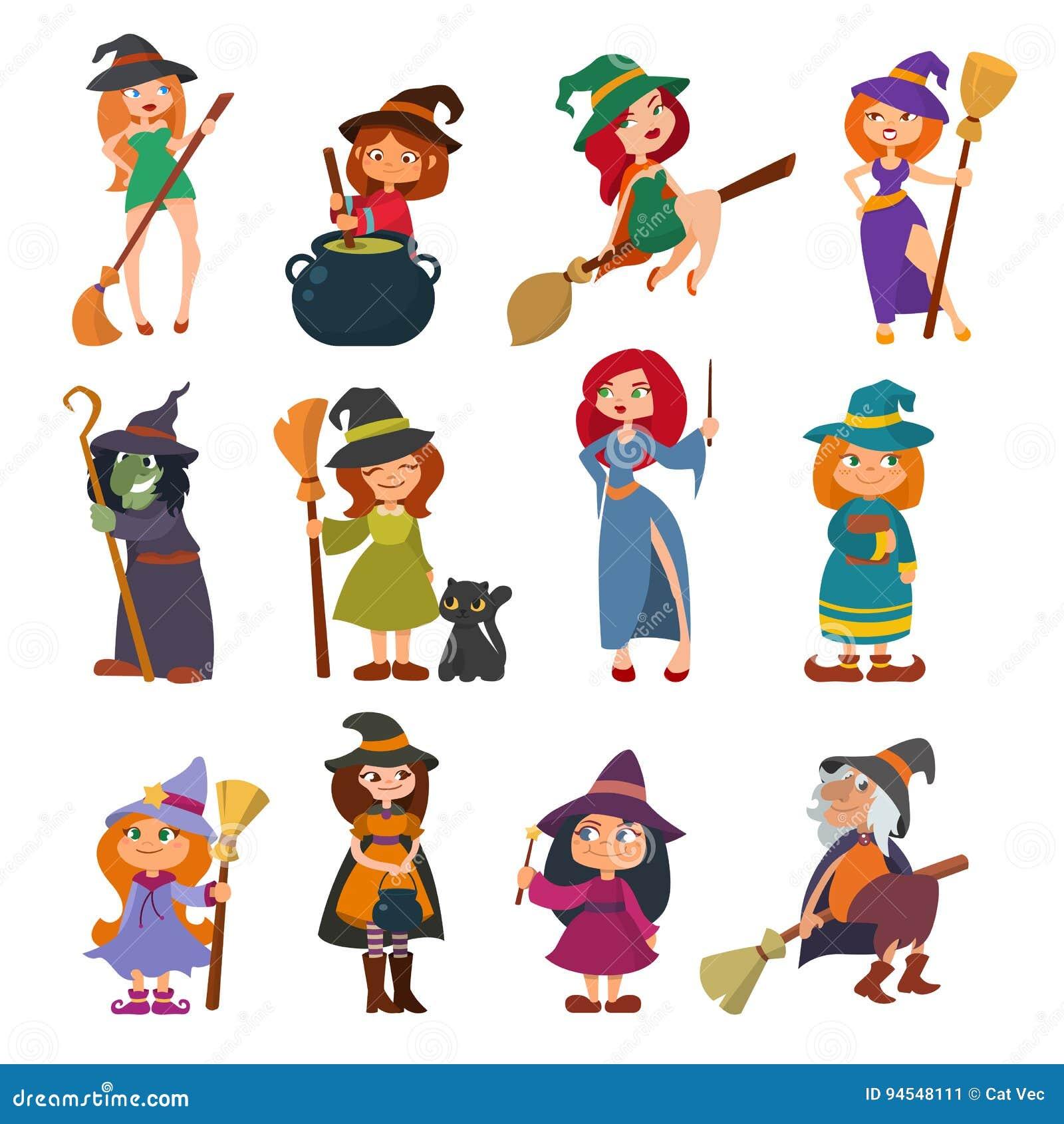 Милый маленький vixen harridan hag ведьмы с вектором шляпы костюма характера маленьких девочек хеллоуина шаржа веника волшебным