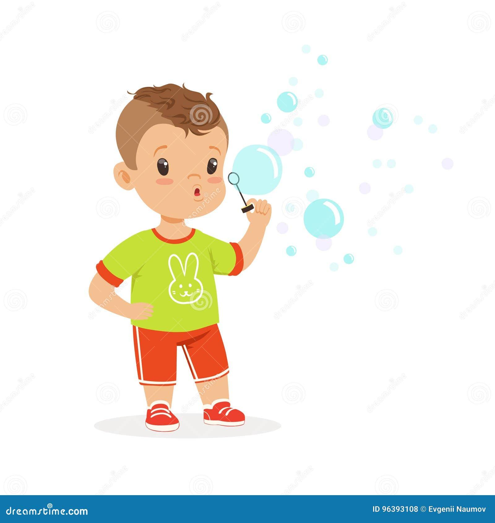 Милый мальчик играя с иллюстрацией вектора воздуходувки пузыря
