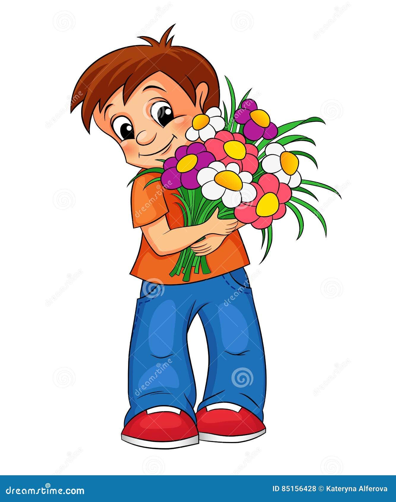 Цветами приглашение, картинки мальчик с цветами нарисованный