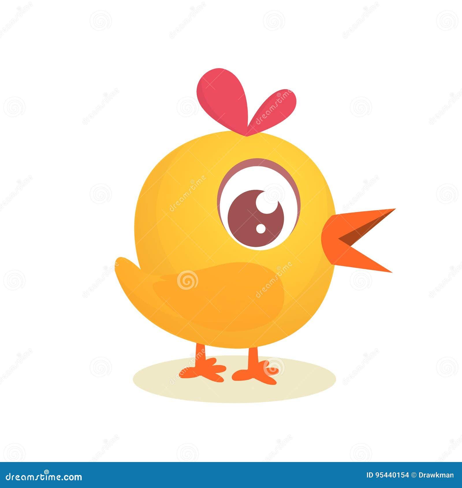 Милый цыпленок желтого цвета шаржа значок иллюстрации вектора
