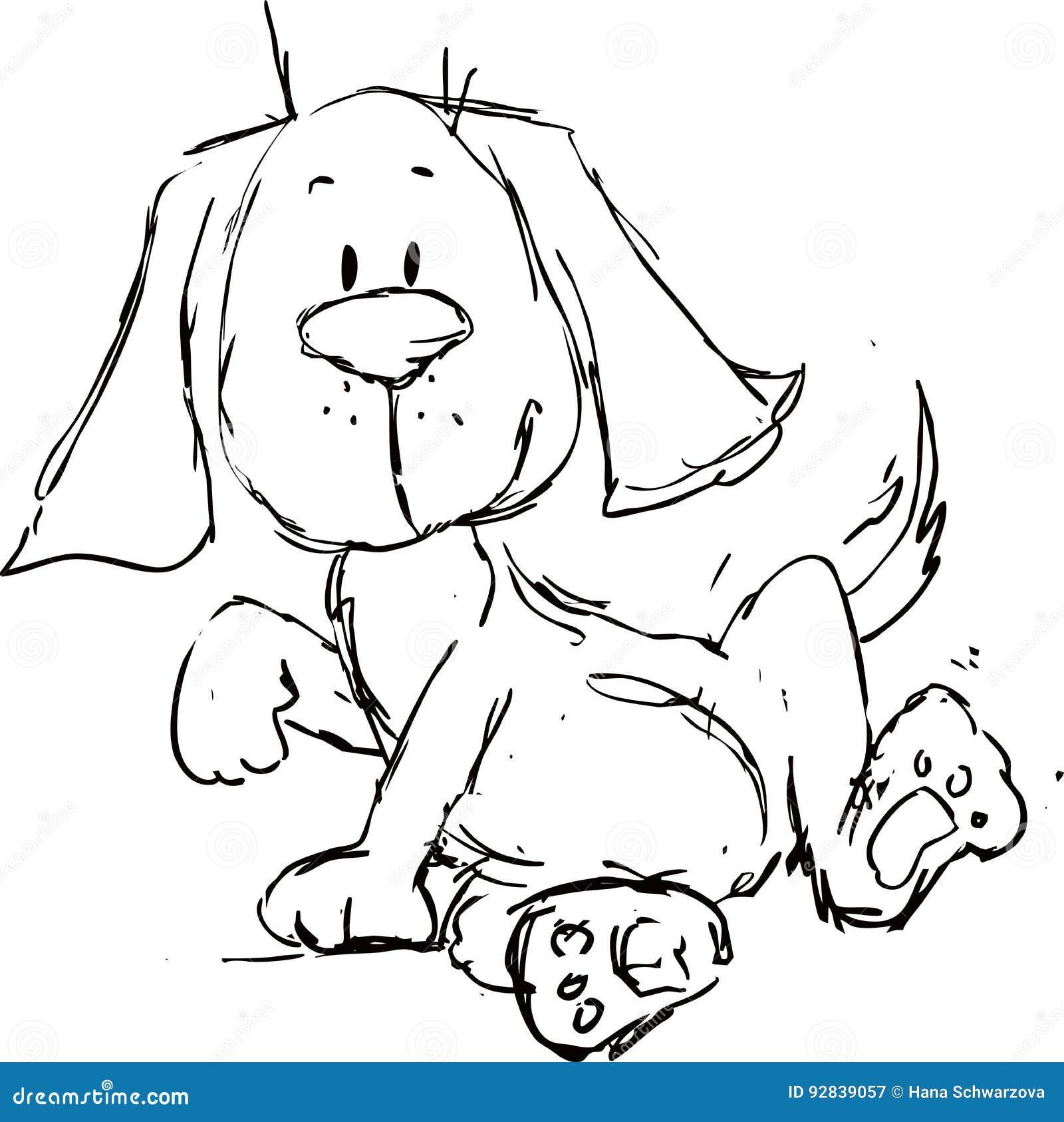 Милый шарж собаки - черный эскиз