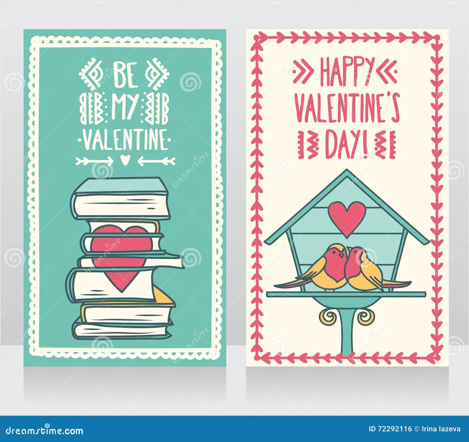 Download 2 милых карточки для дня валентинок, симпатичных пар птиц и книг с сердцем Иллюстрация вектора - иллюстрации насчитывающей малыш, икона: 72292116