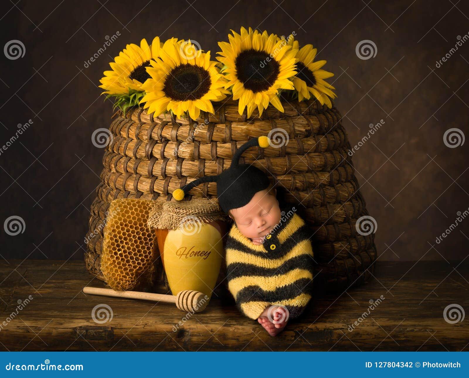 Младенец в обмундировании пчелы спать в улье