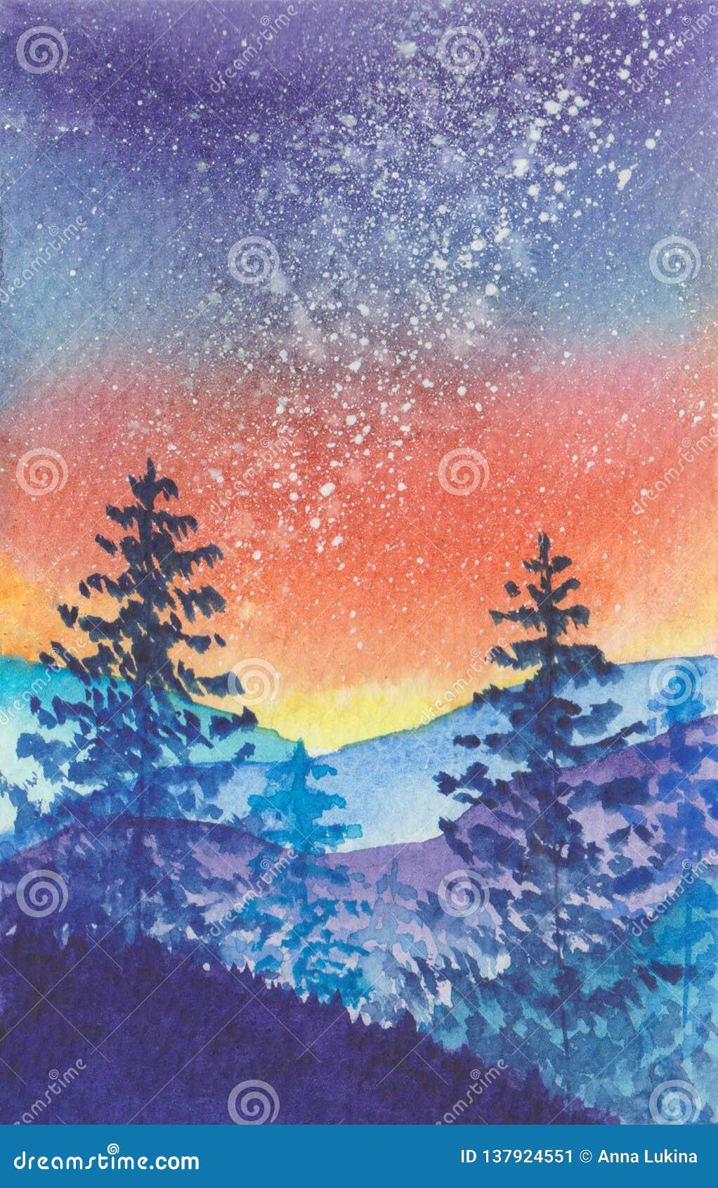 Млечный путь в ландшафте гор леса голубом