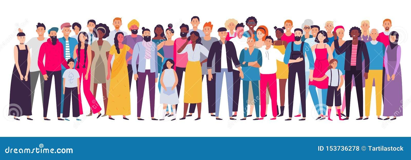 Многонациональная группа людей Общество, многокультурный портрет общины и граждане Детеныши, взрослый и старшие люди