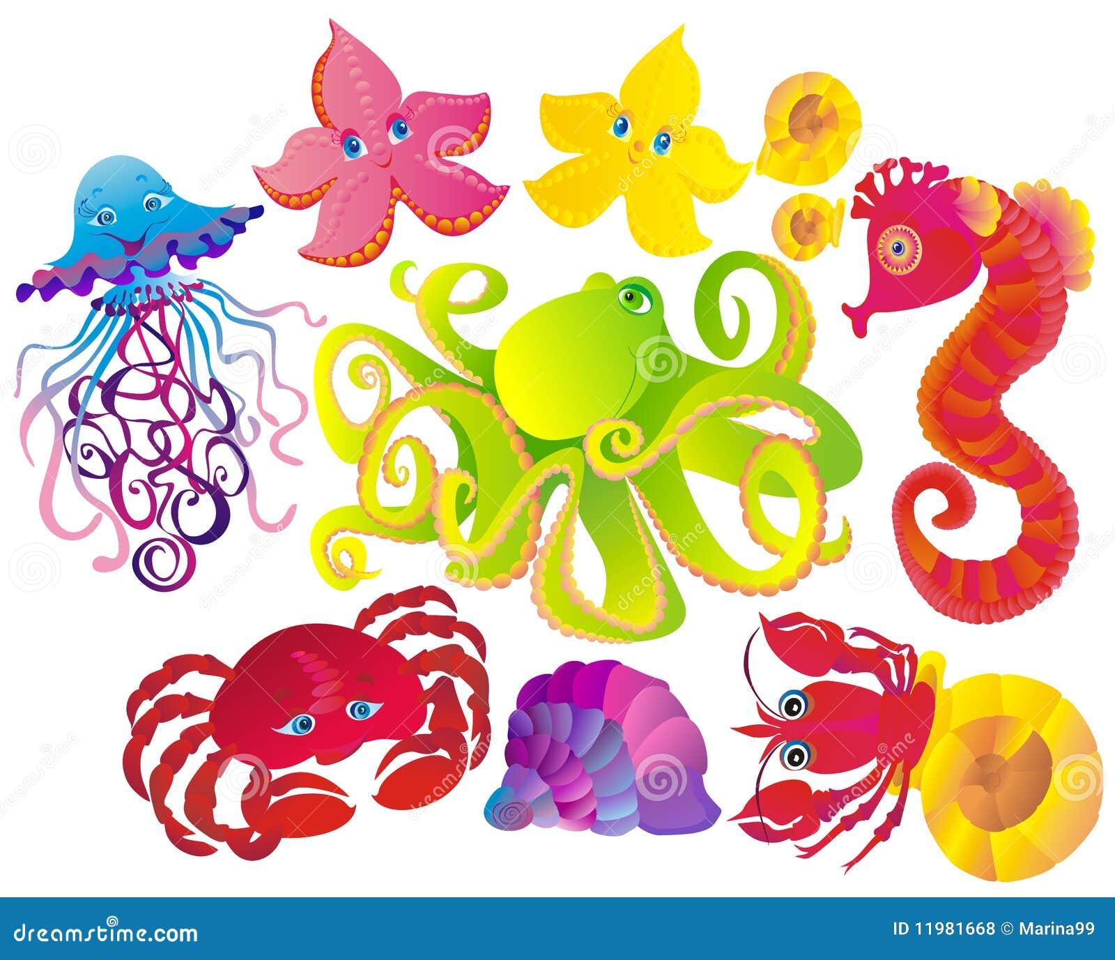 много животных различные вектор моря