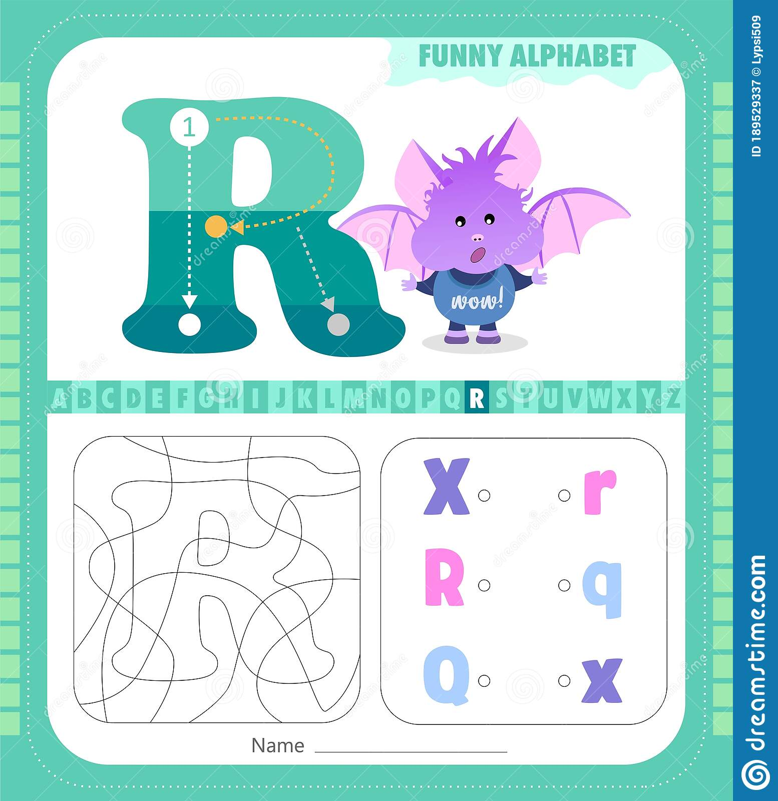 Letter R And Funny Cartoon Bat Alphabet A Z Coloring Page Printable Worksheet Stock Vector Illustration Of Kindergarten Book 189529337