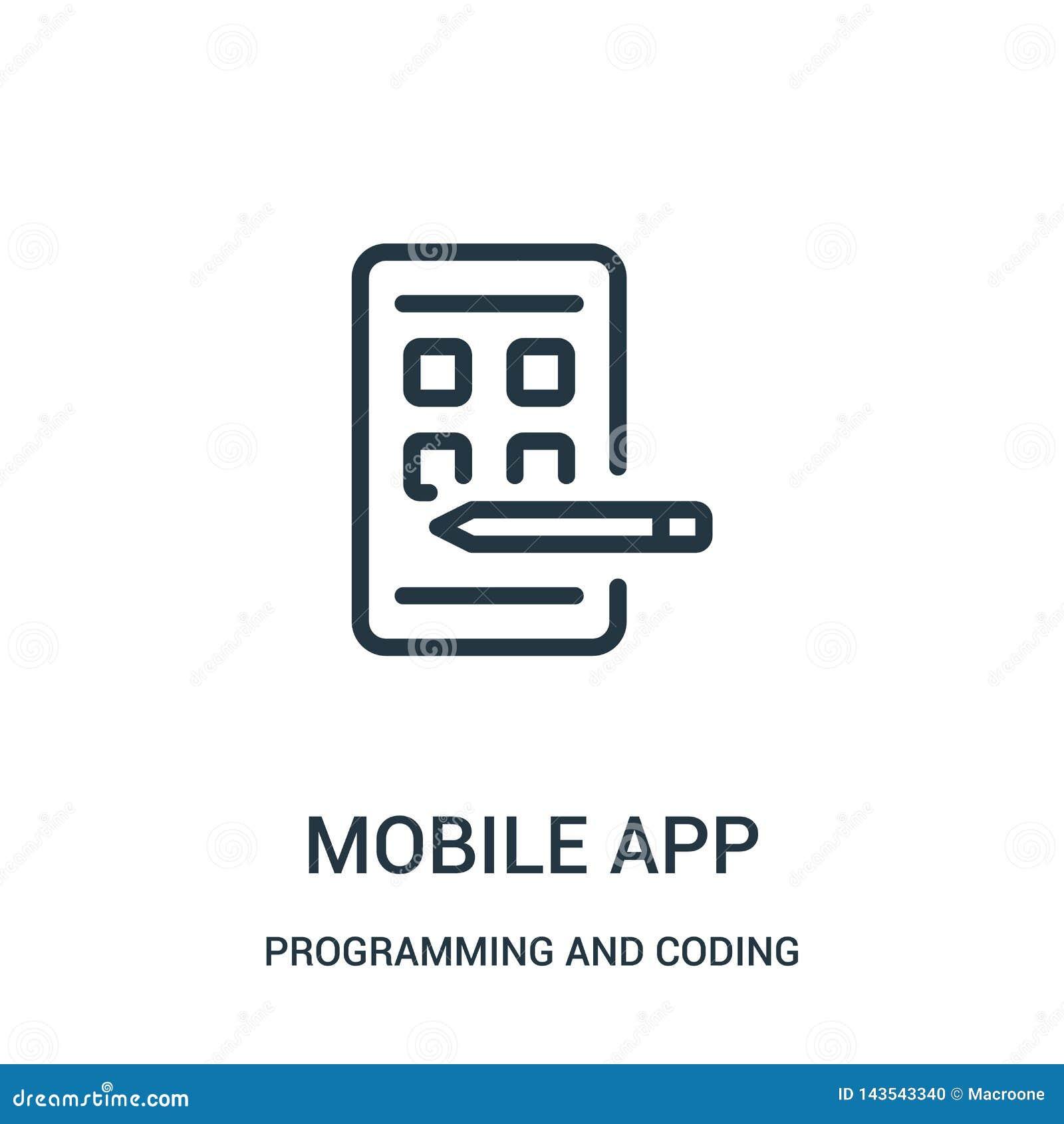 мобильный вектор значка приложения от программирования и кодировать собрания Тонкая линия мобильная иллюстрация вектора значка пл