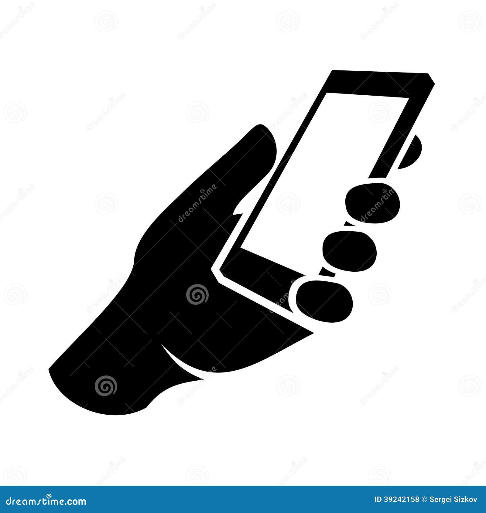 Мобильный телефон в значке руки. Вектор