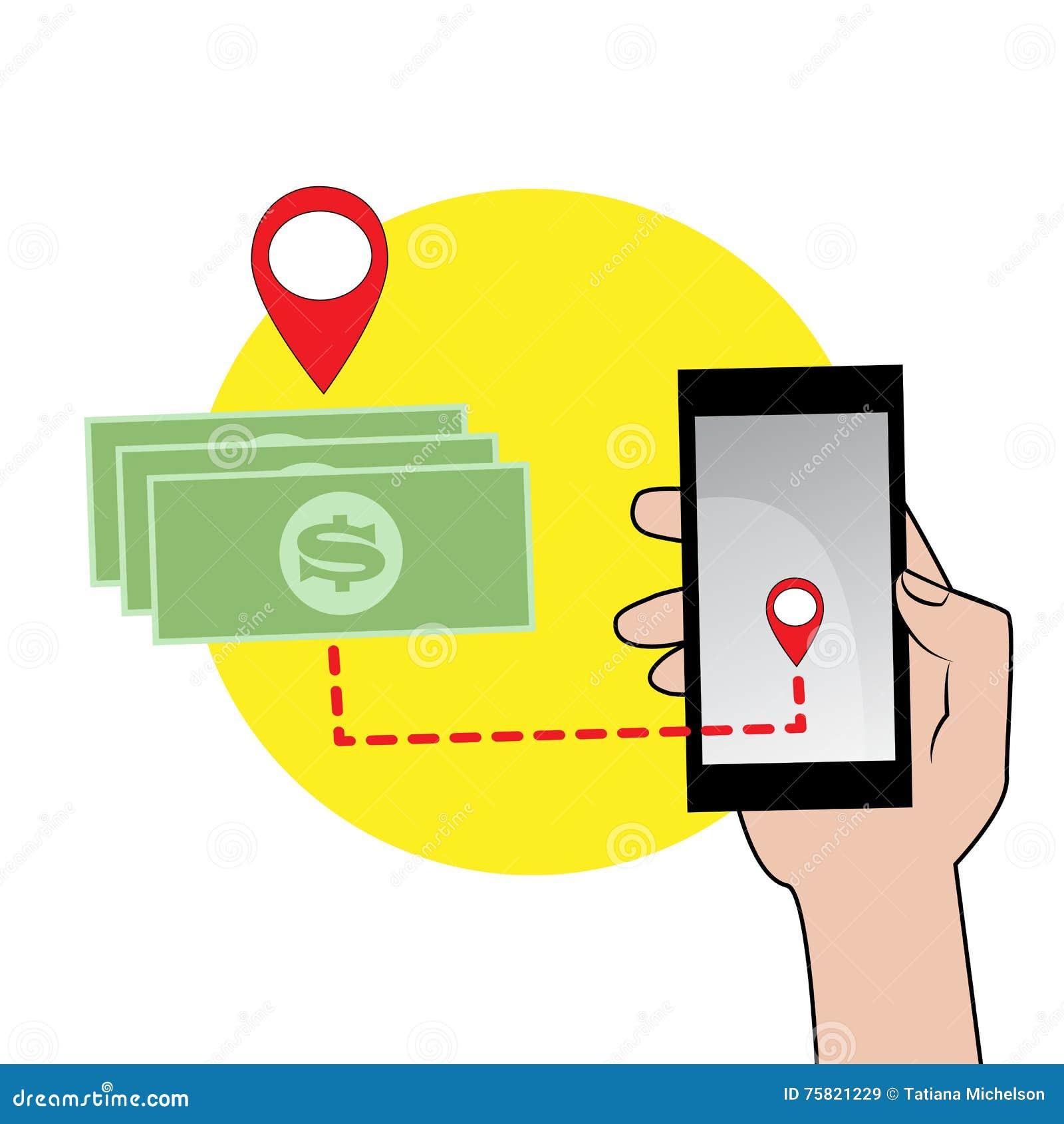 Мобильный телефон в значке руки и денег