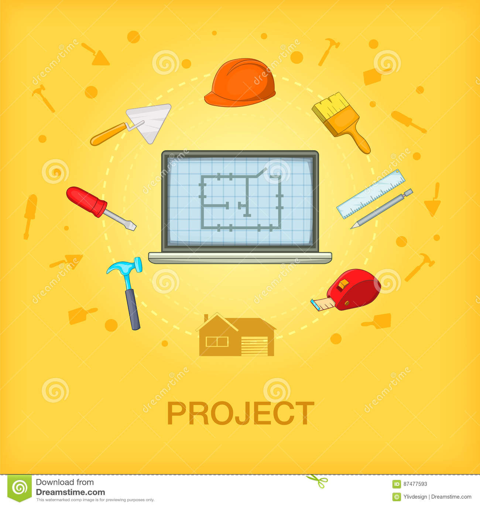 Мобильный телефон концепции строительного процесса, стиль шаржа