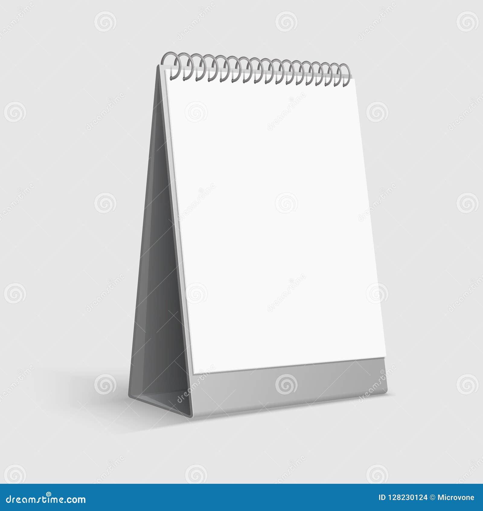 Модель-макет календаря Пустой белый календарь офиса настольного компьютера с связывателем кольца шаблон вектора 3d
