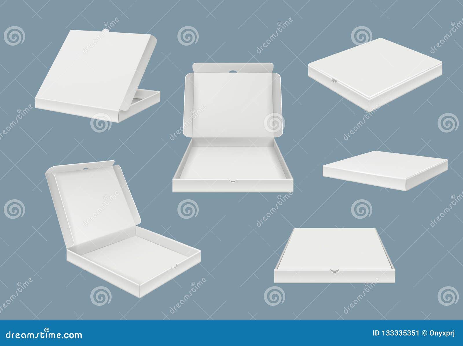 Модель-макет пакета пиццы Картон доставки фаст-фуда открытый и закрытая коробка шаблона различного вектора взглядов реалистическо