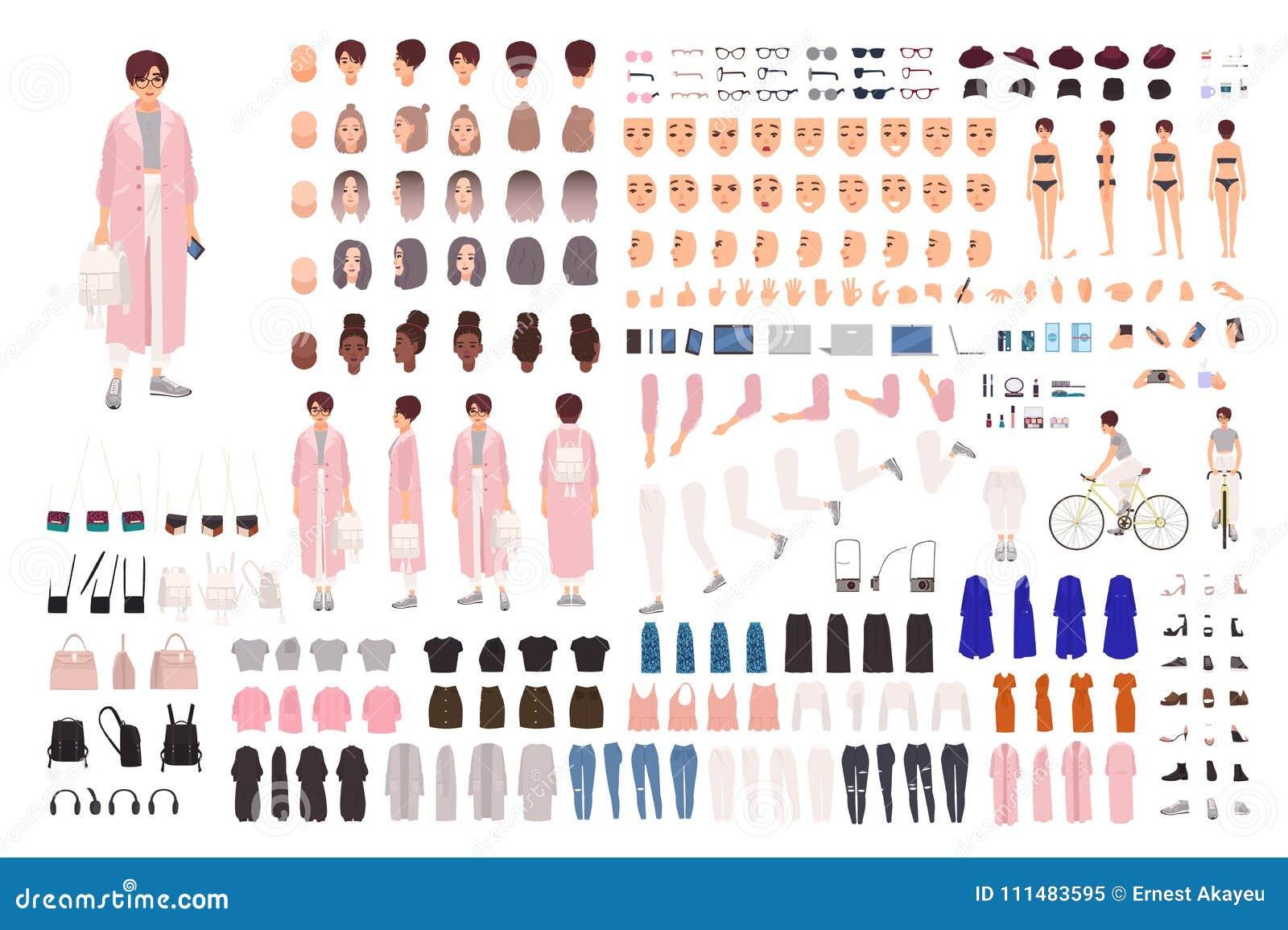Модный комплект творения маленькой девочки или набор DIY Собрание частей тела, ультрамодных одежд, стильных аксессуаров, сторон