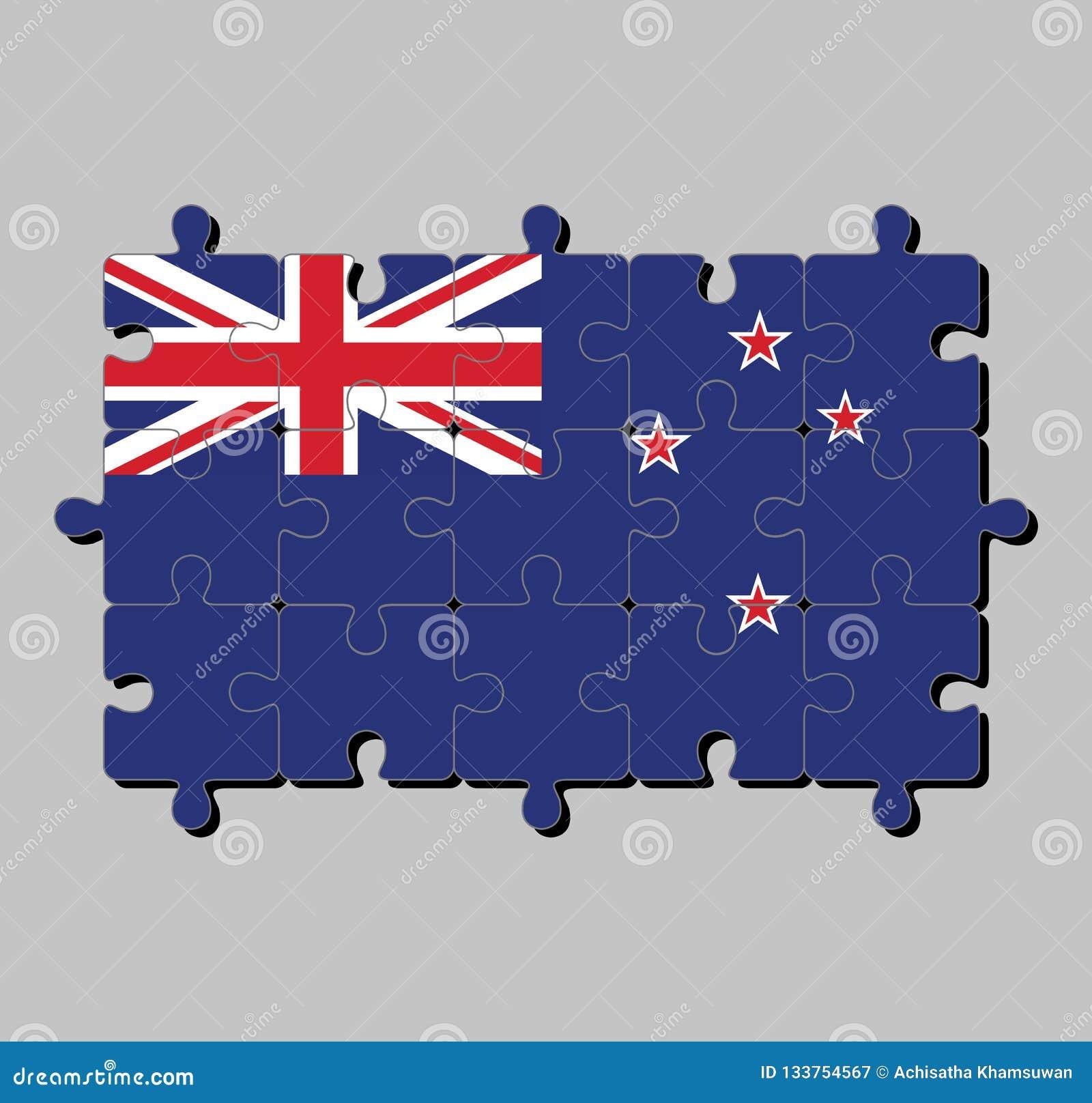 Мозаика флага Новой Зеландии в голубом Ensign с южным крестом 4 звезд