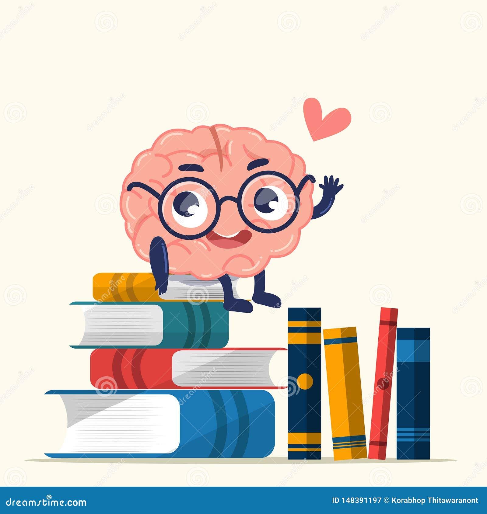 Мозг дизайна характера милый для знания