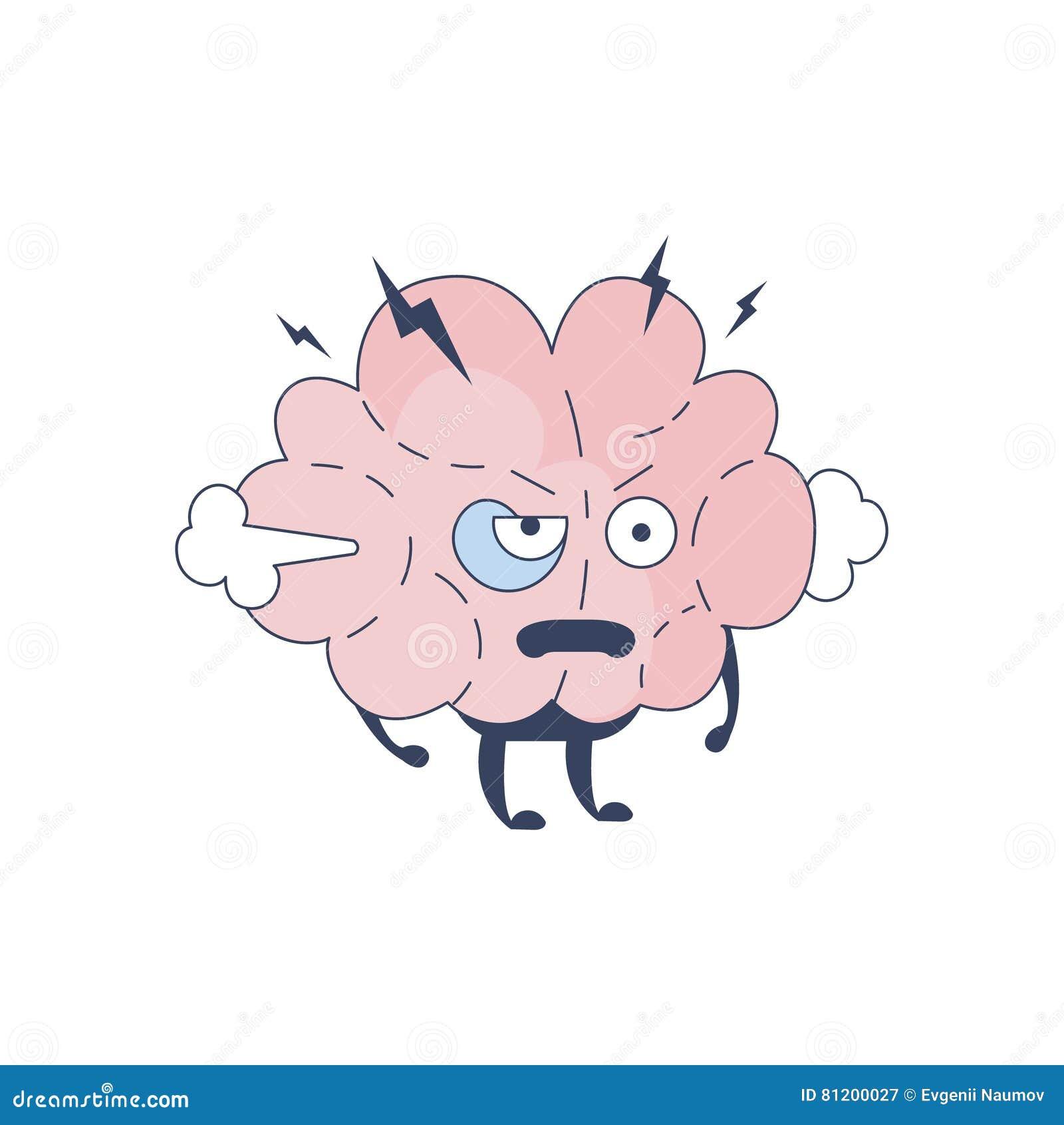 Мозг помоченный с комического персонажа представляя интеллект и интеллектуальную деятельность вектора шаржа человеческого разума